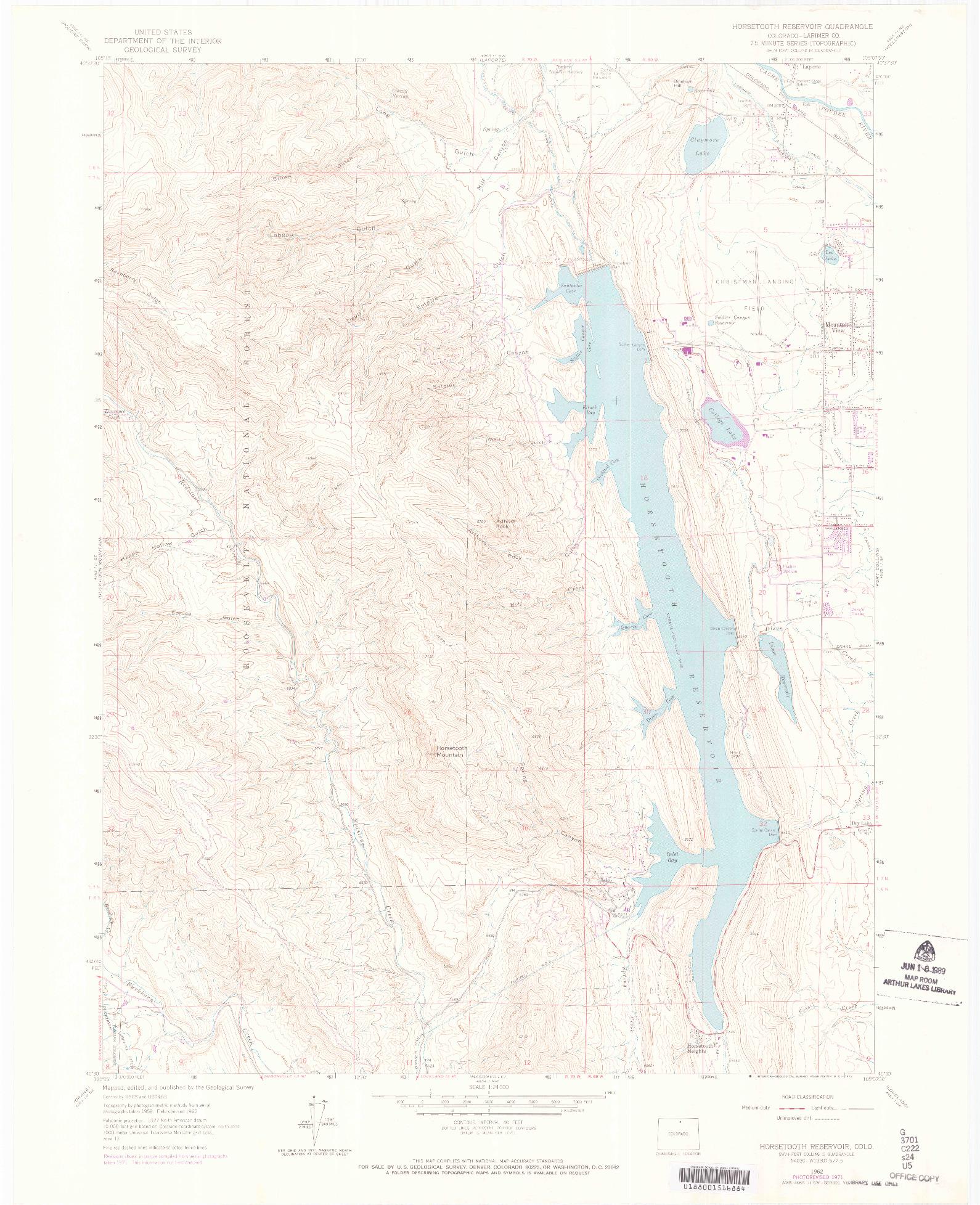 USGS 1:24000-SCALE QUADRANGLE FOR HORSETOOTH RESERVOIR, CO 1962