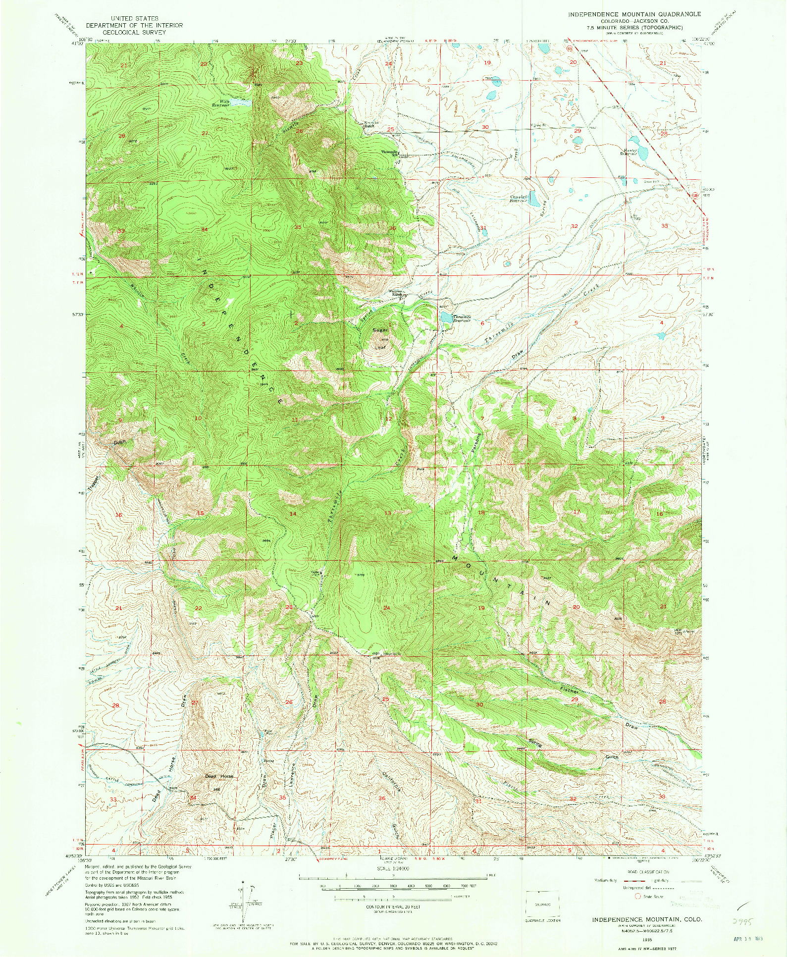 USGS 1:24000-SCALE QUADRANGLE FOR INDEPENDENCE MOUNTAIN, CO 1955