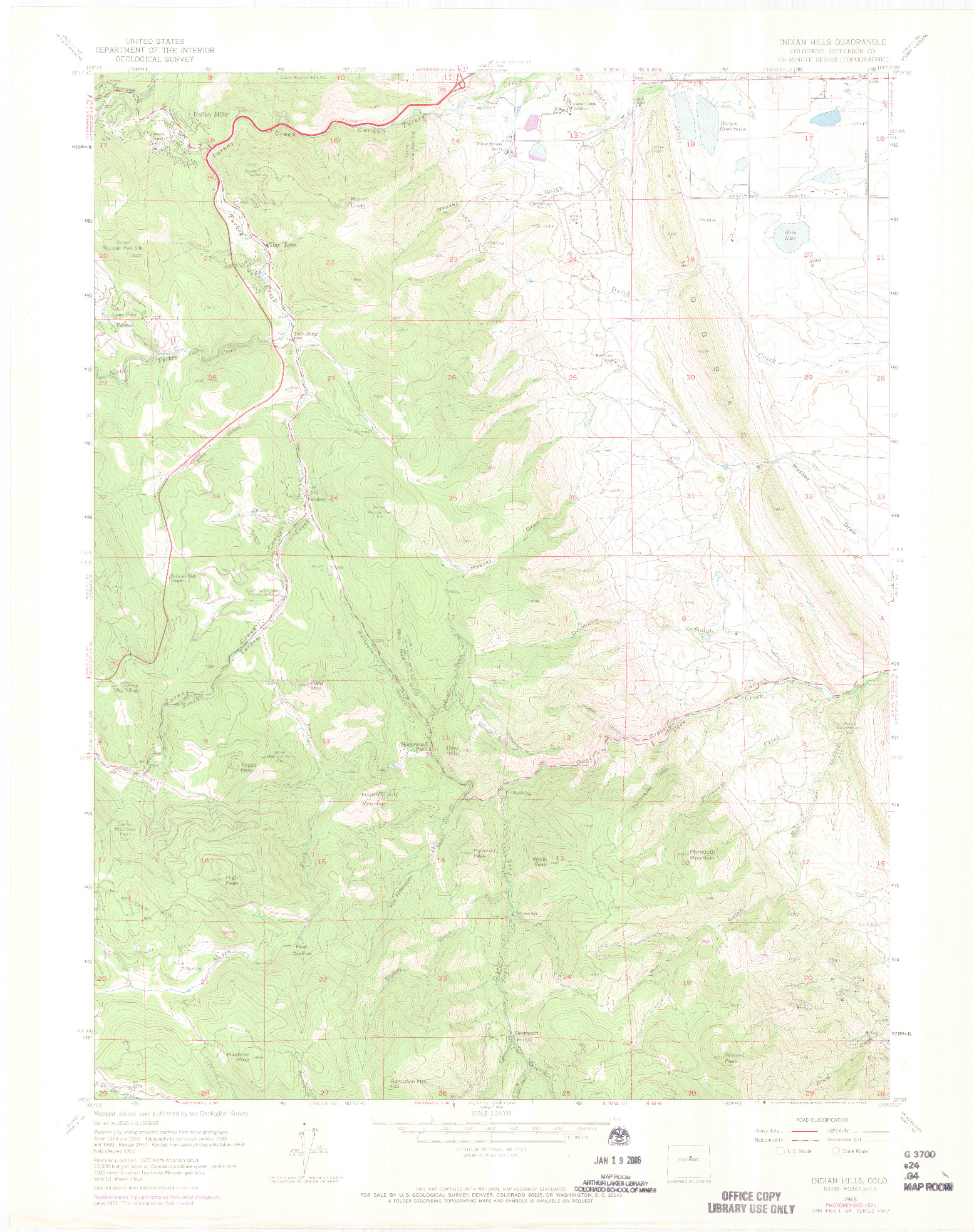 USGS 1:24000-SCALE QUADRANGLE FOR INDIAN HILLS, CO 1965