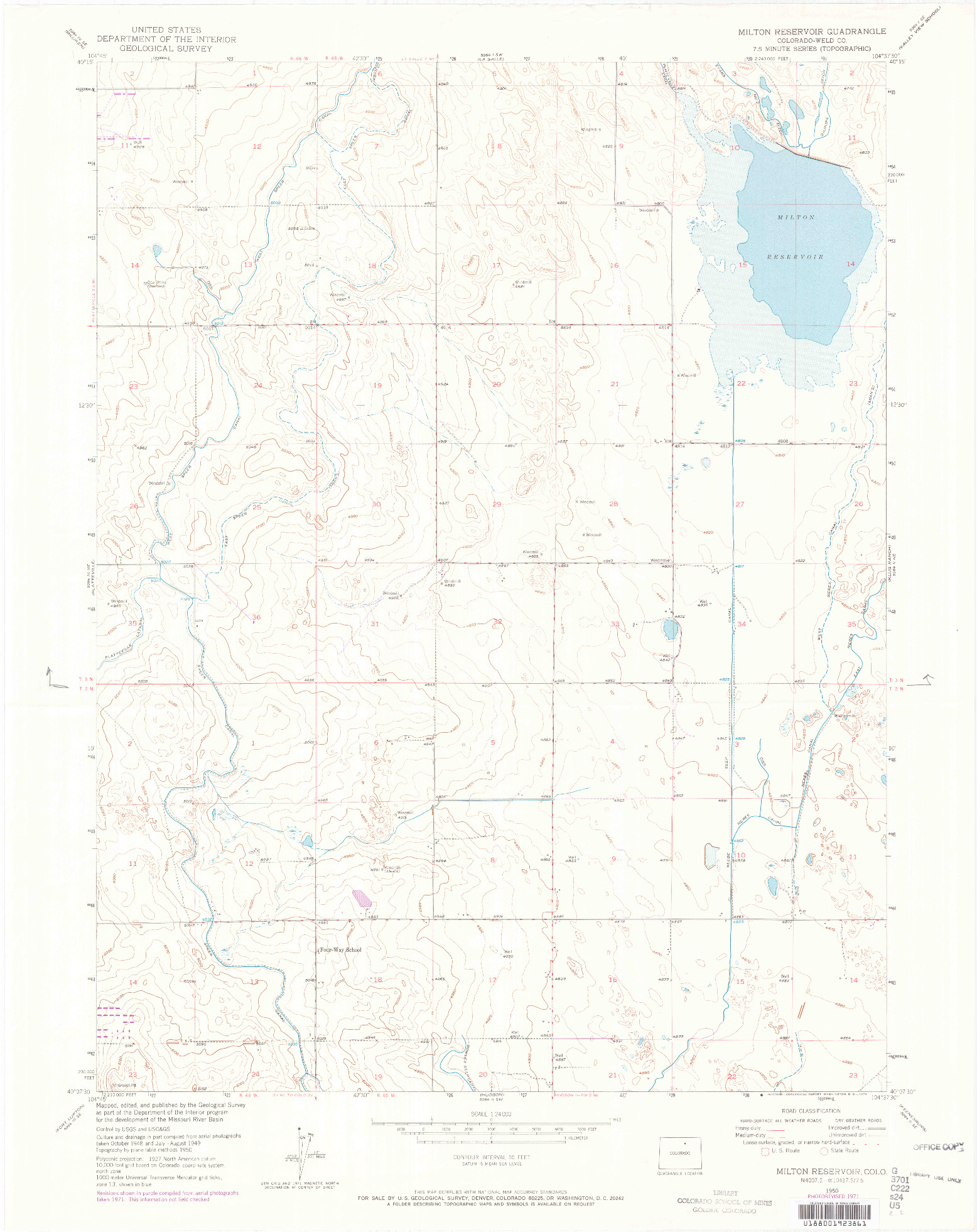 USGS 1:24000-SCALE QUADRANGLE FOR MILTON RESERVOIR, CO 1950