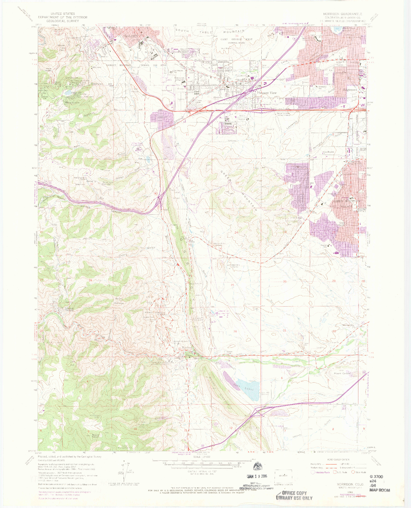 USGS 1:24000-SCALE QUADRANGLE FOR MORRISON, CO 1965