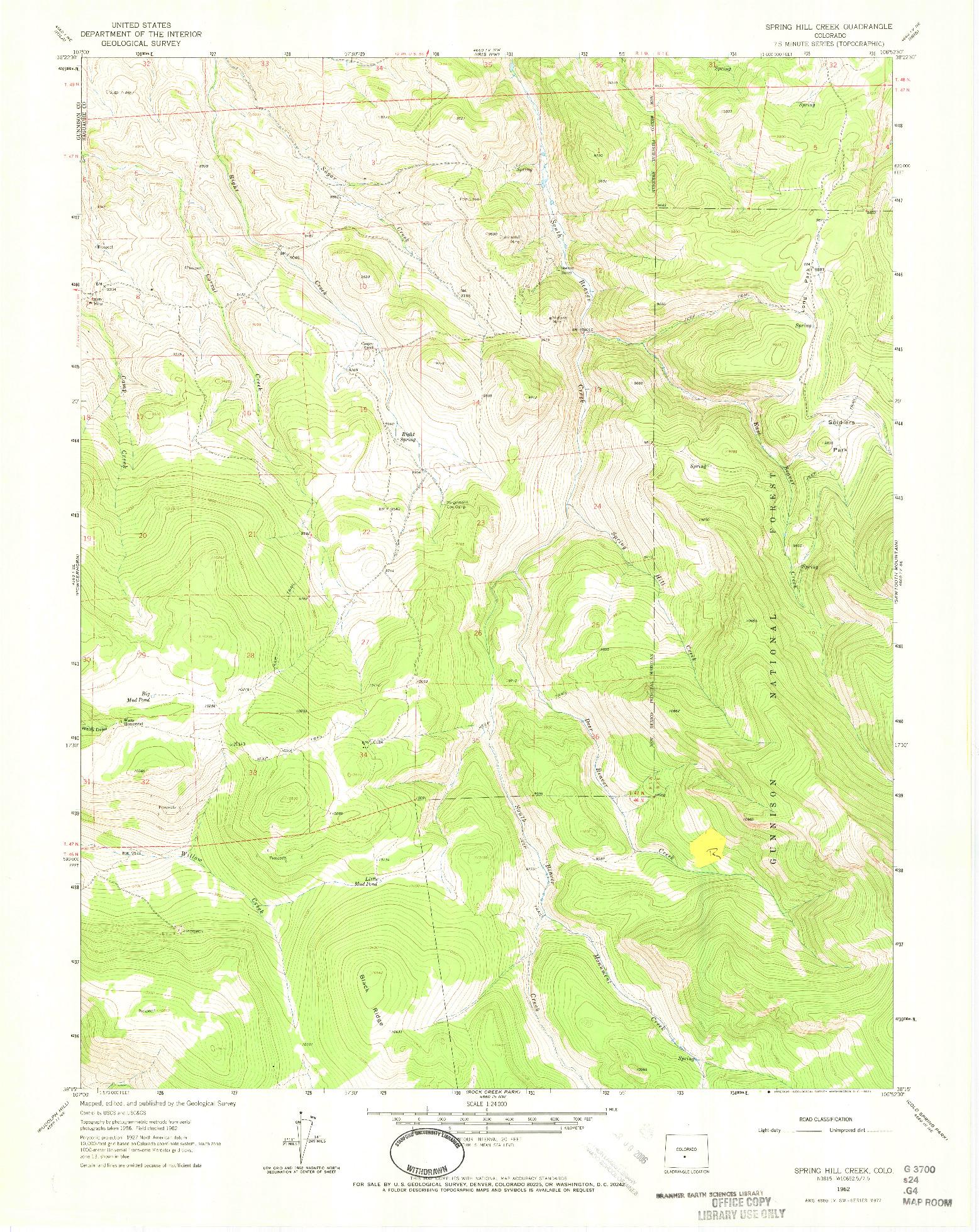 USGS 1:24000-SCALE QUADRANGLE FOR SPRING HILL CREEK, CO 1962