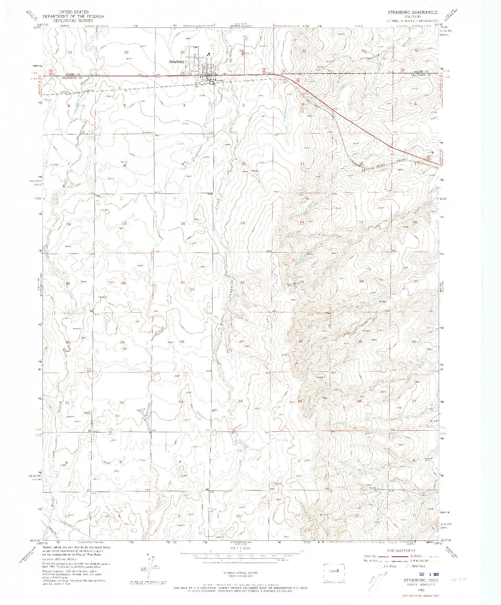 USGS 1:24000-SCALE QUADRANGLE FOR STRASBURG, CO 1955