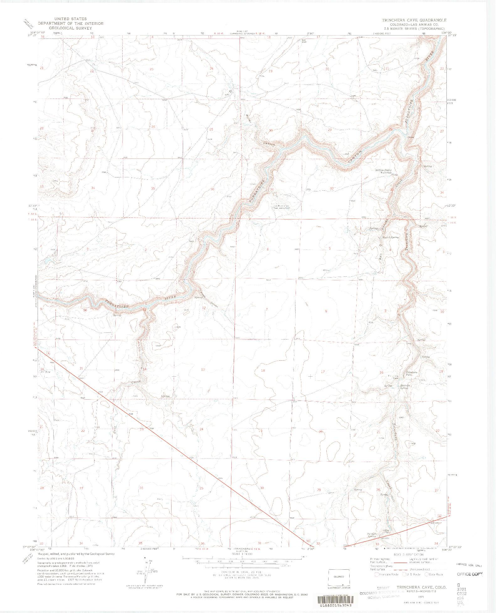 USGS 1:24000-SCALE QUADRANGLE FOR TRINCHERA CAVE, CO 1971
