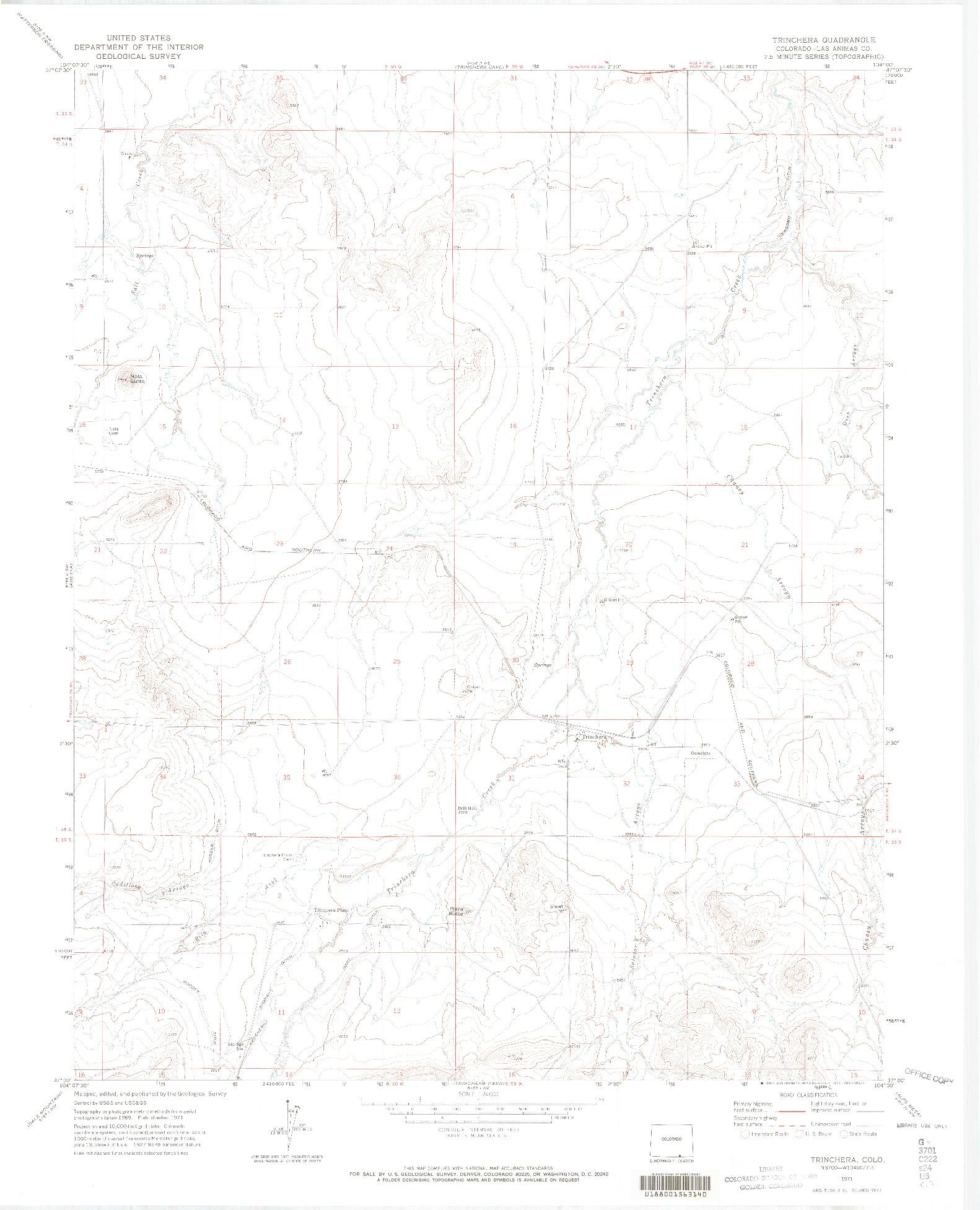 USGS 1:24000-SCALE QUADRANGLE FOR TRINCHERA, CO 1971