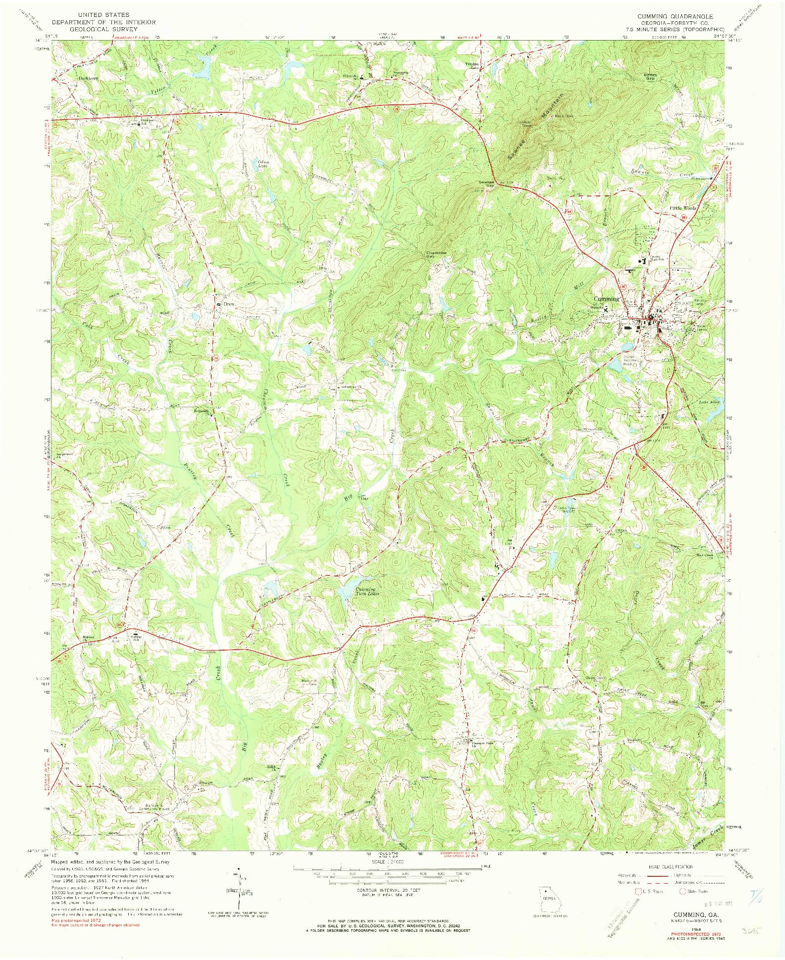 USGS 1:24000-SCALE QUADRANGLE FOR CUMMING, GA 1964