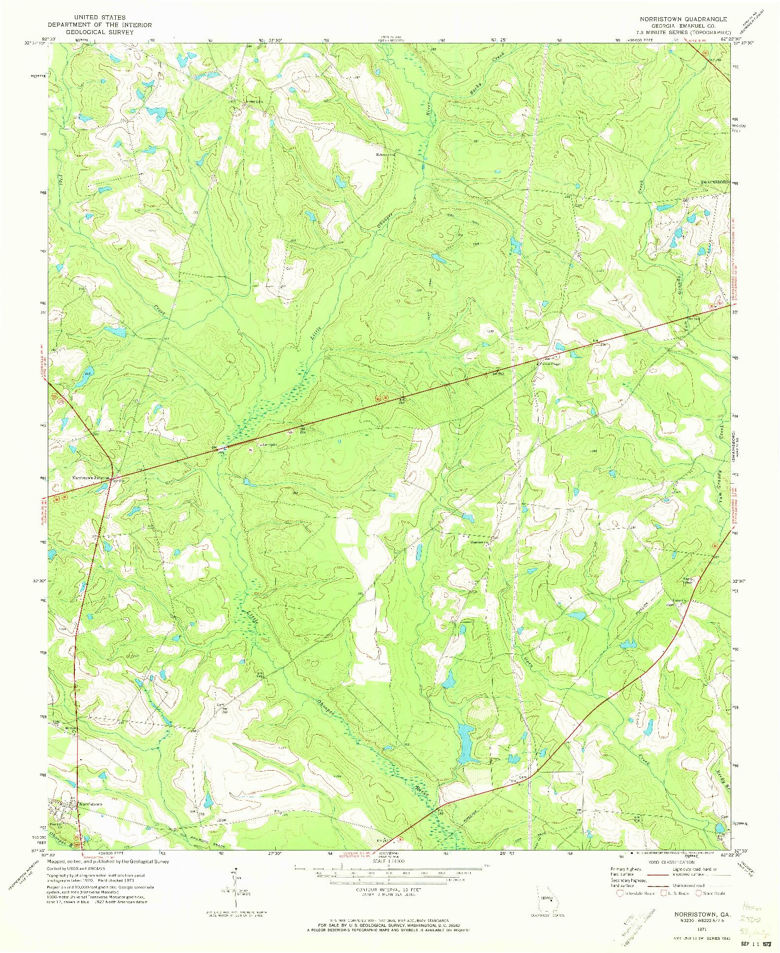 USGS 1:24000-SCALE QUADRANGLE FOR NORRISTOWN, GA 1971