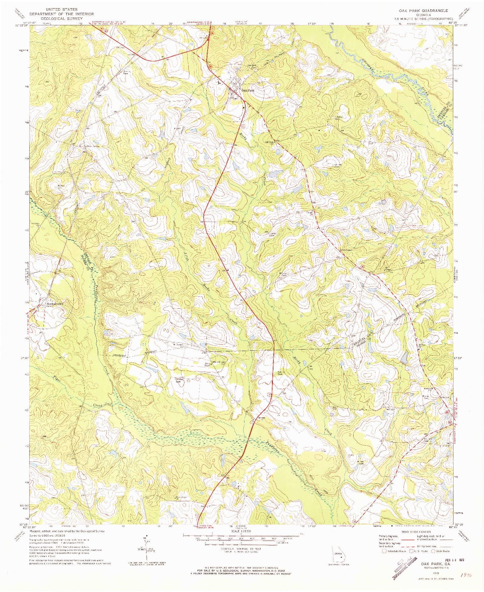 USGS 1:24000-SCALE QUADRANGLE FOR OAK PARK, GA 1970