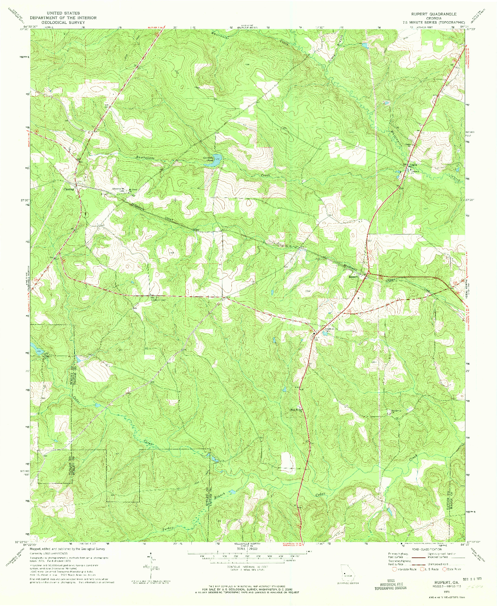 USGS 1:24000-SCALE QUADRANGLE FOR RUPERT, GA 1971