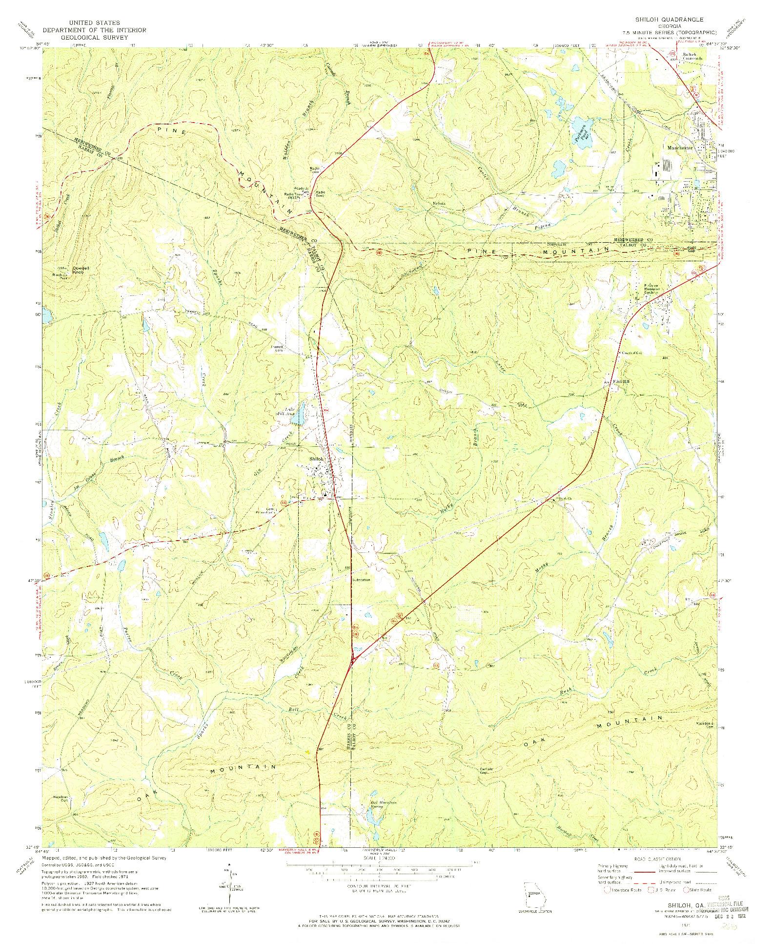 USGS 1:24000-SCALE QUADRANGLE FOR SHILOH, GA 1971