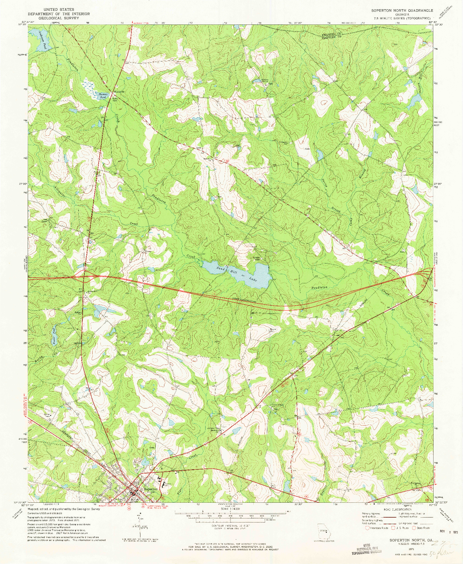 USGS 1:24000-SCALE QUADRANGLE FOR SOPERTON NORTH, GA 1971