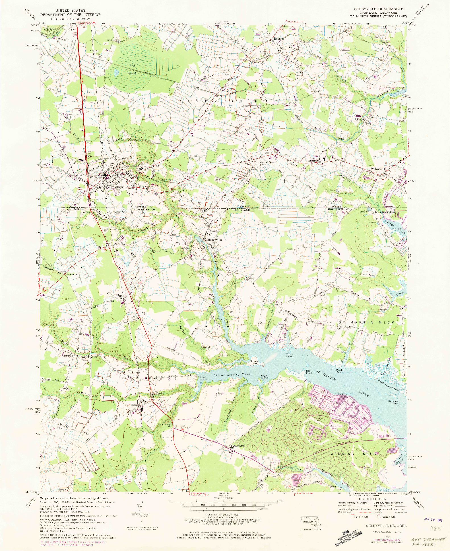 USGS 1:24000-SCALE QUADRANGLE FOR SELBYVILLE, MD 1967