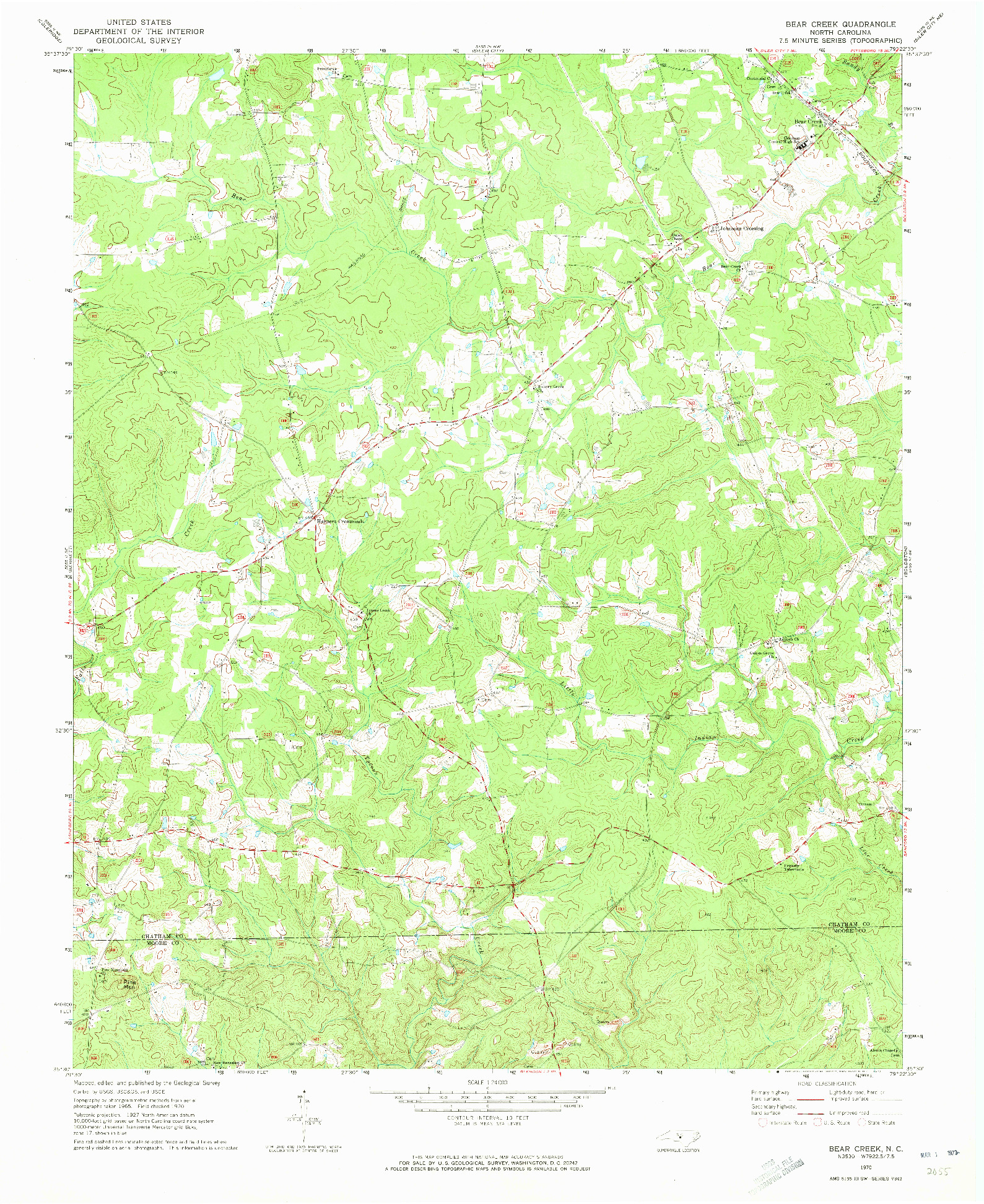 USGS 1:24000-SCALE QUADRANGLE FOR BEAR CREEK, NC 1970