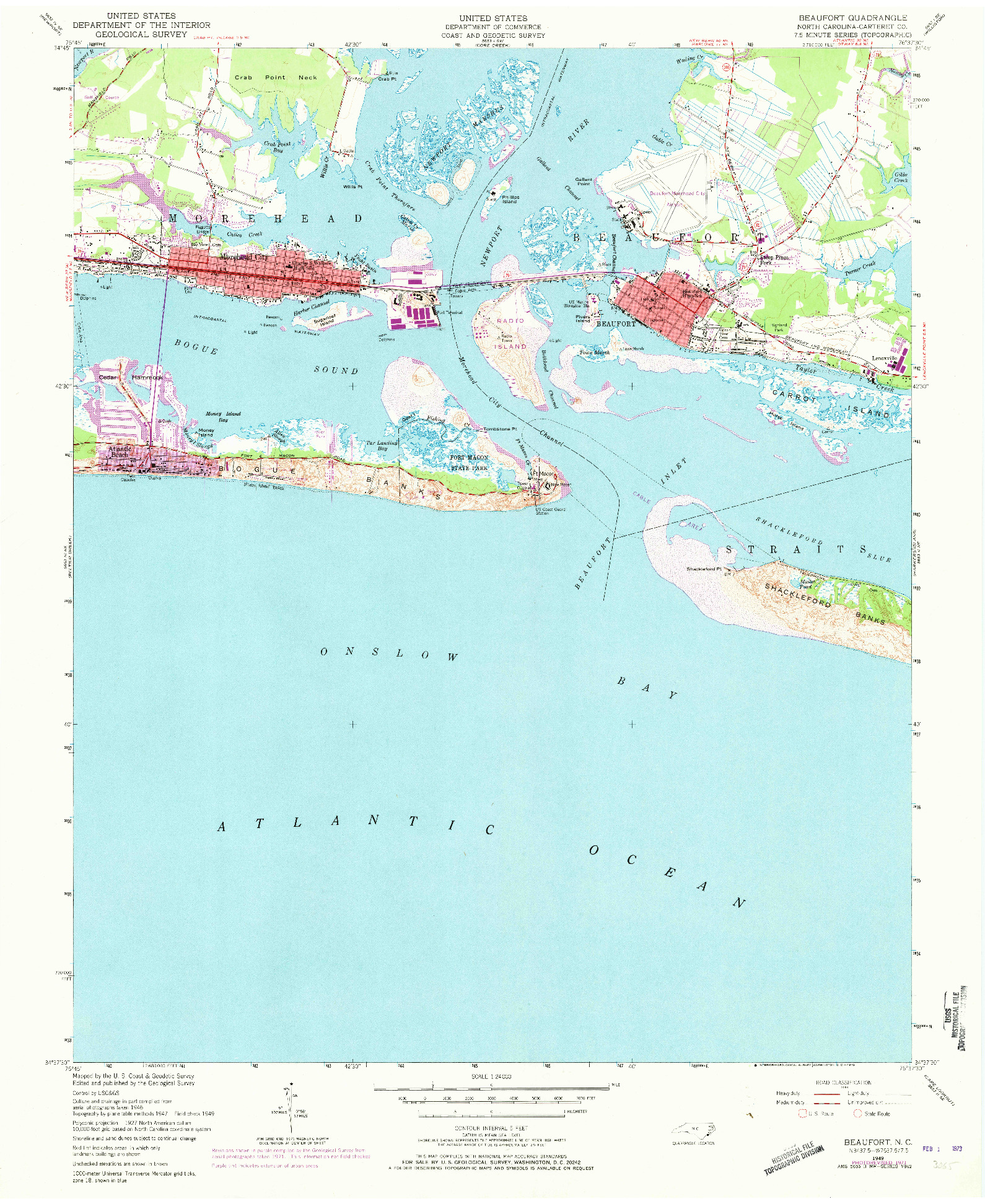USGS 1:24000-SCALE QUADRANGLE FOR BEAUFORT, NC 1949