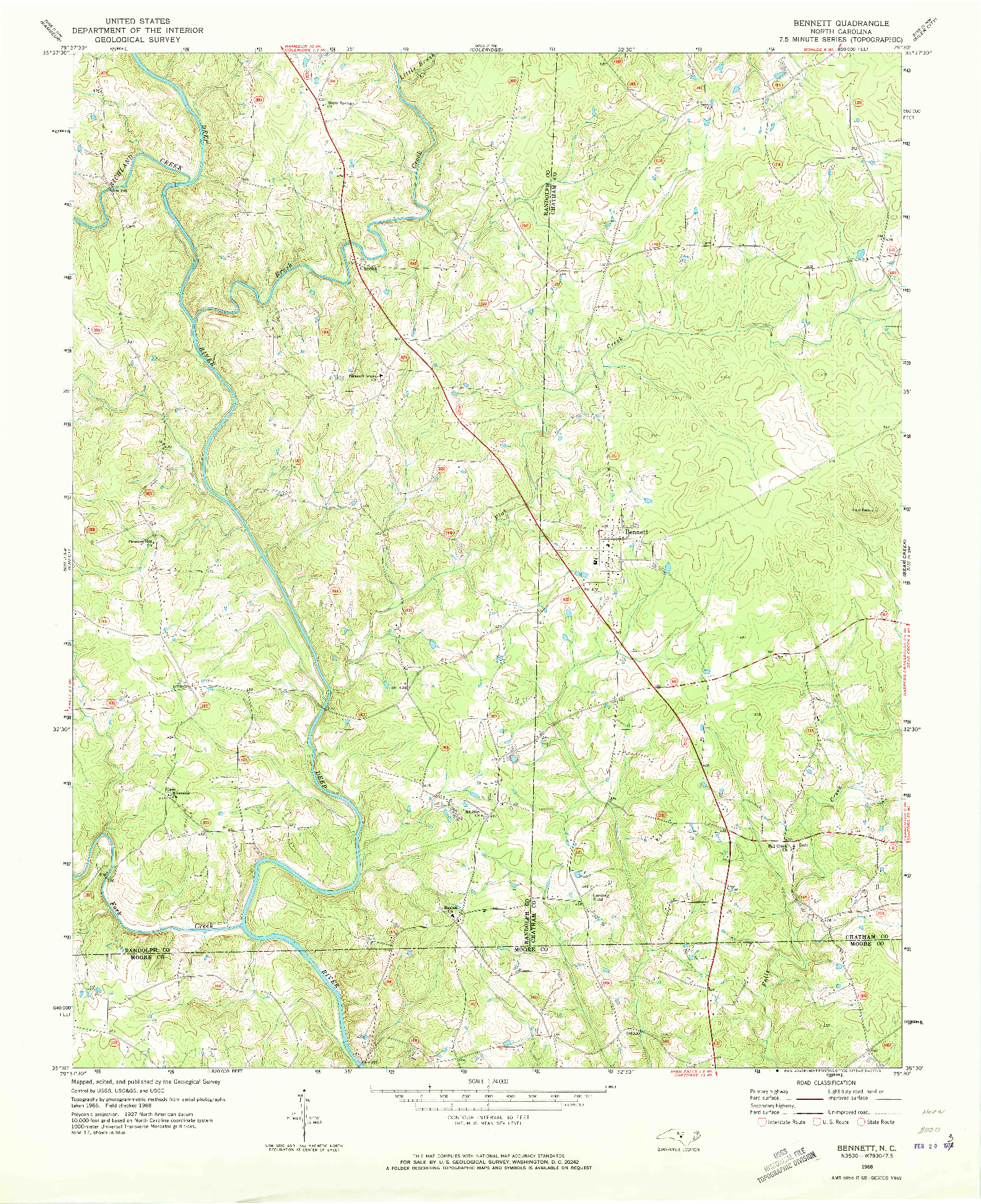 USGS 1:24000-SCALE QUADRANGLE FOR BENNETT, NC 1968