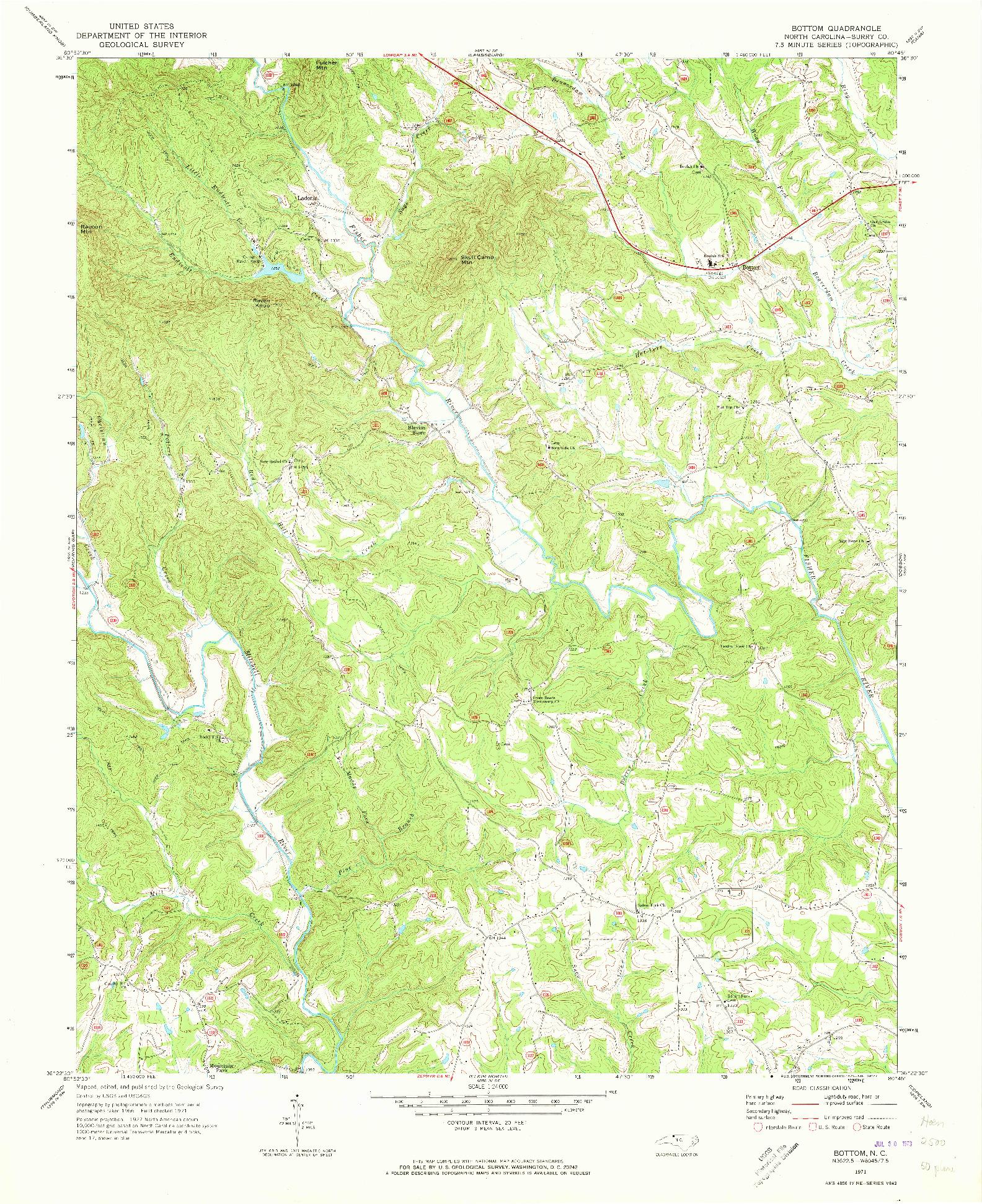 USGS 1:24000-SCALE QUADRANGLE FOR BOTTOM, NC 1971