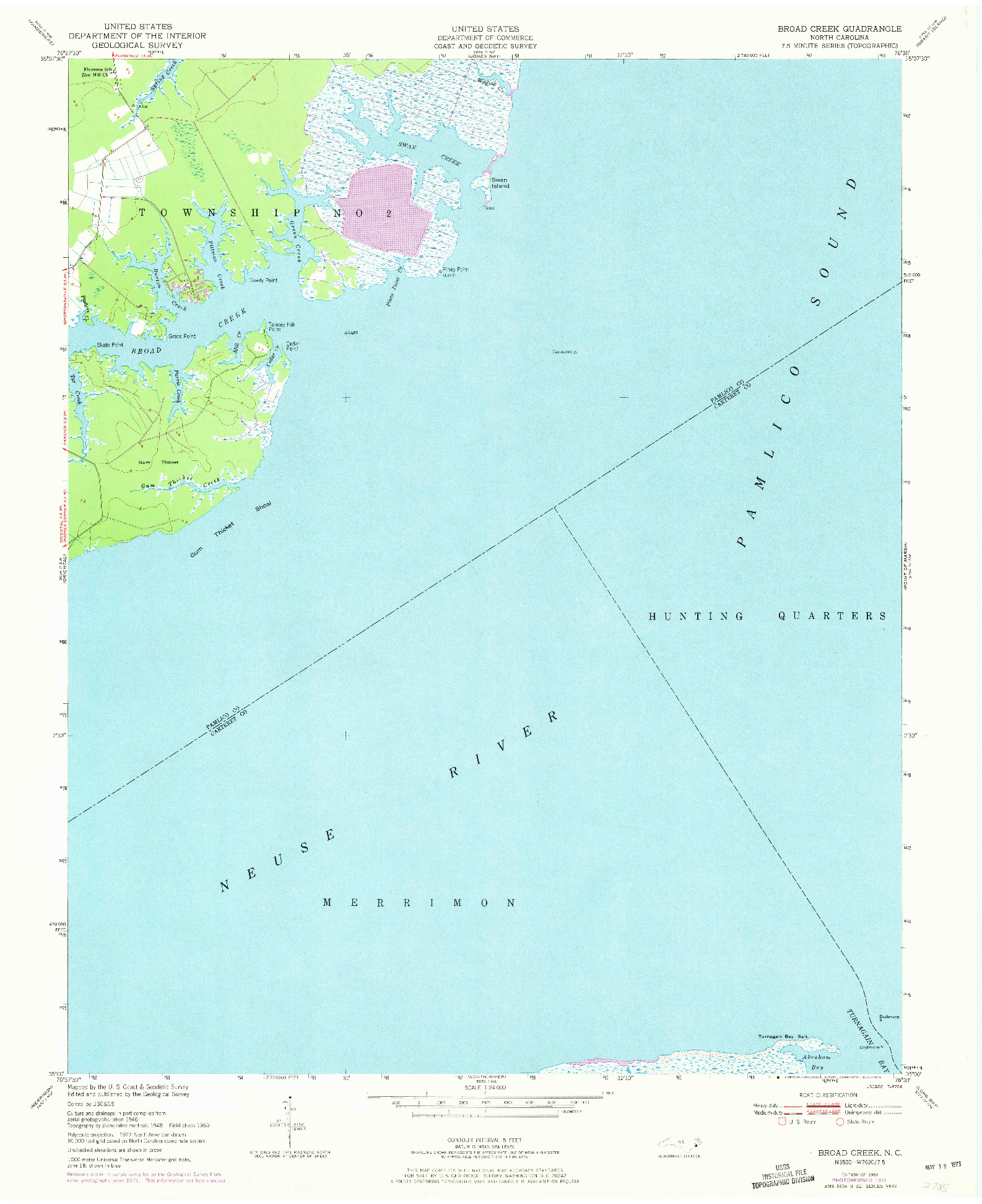 USGS 1:24000-SCALE QUADRANGLE FOR BROAD CREEK, NC 1951