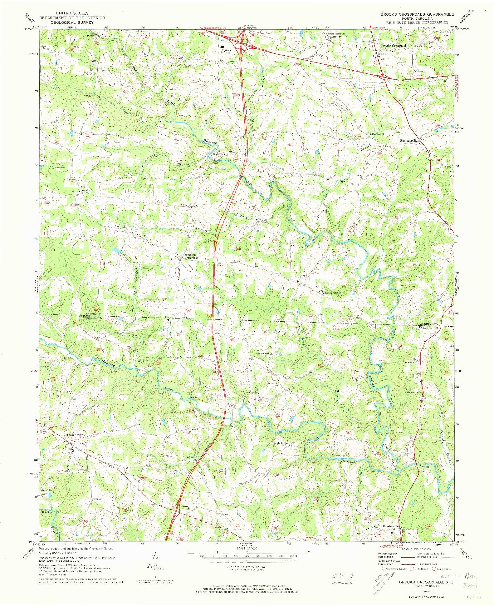 USGS 1:24000-SCALE QUADRANGLE FOR BROOKS CROSSROADS, NC 1970
