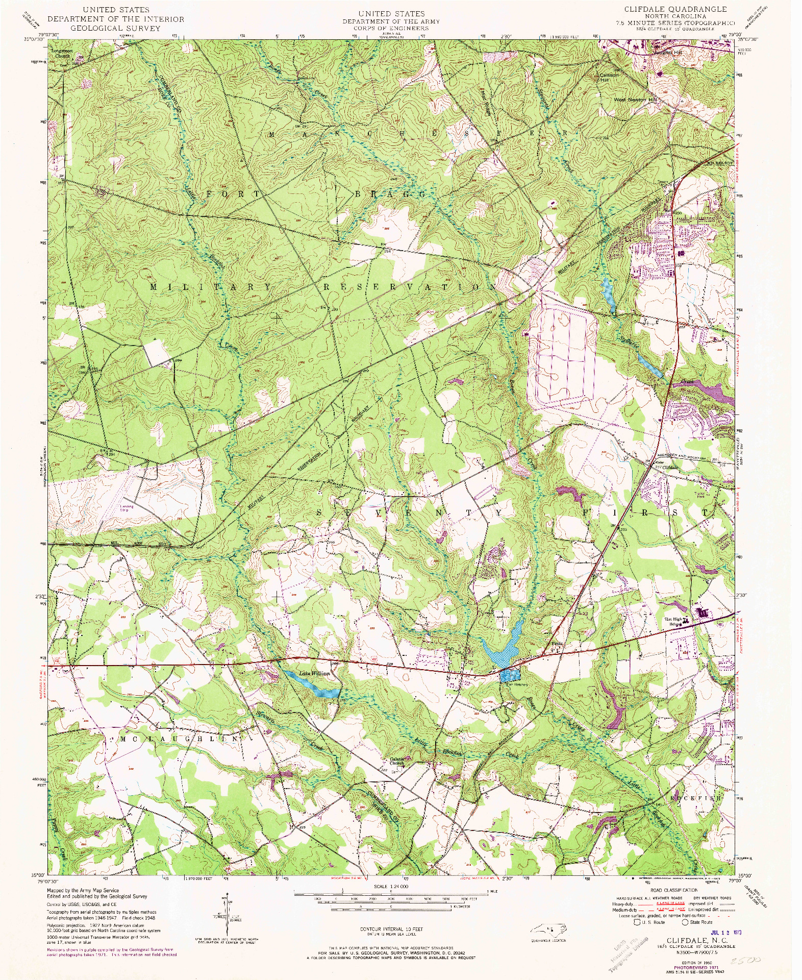 USGS 1:24000-SCALE QUADRANGLE FOR CLIFDALE, NC 1950