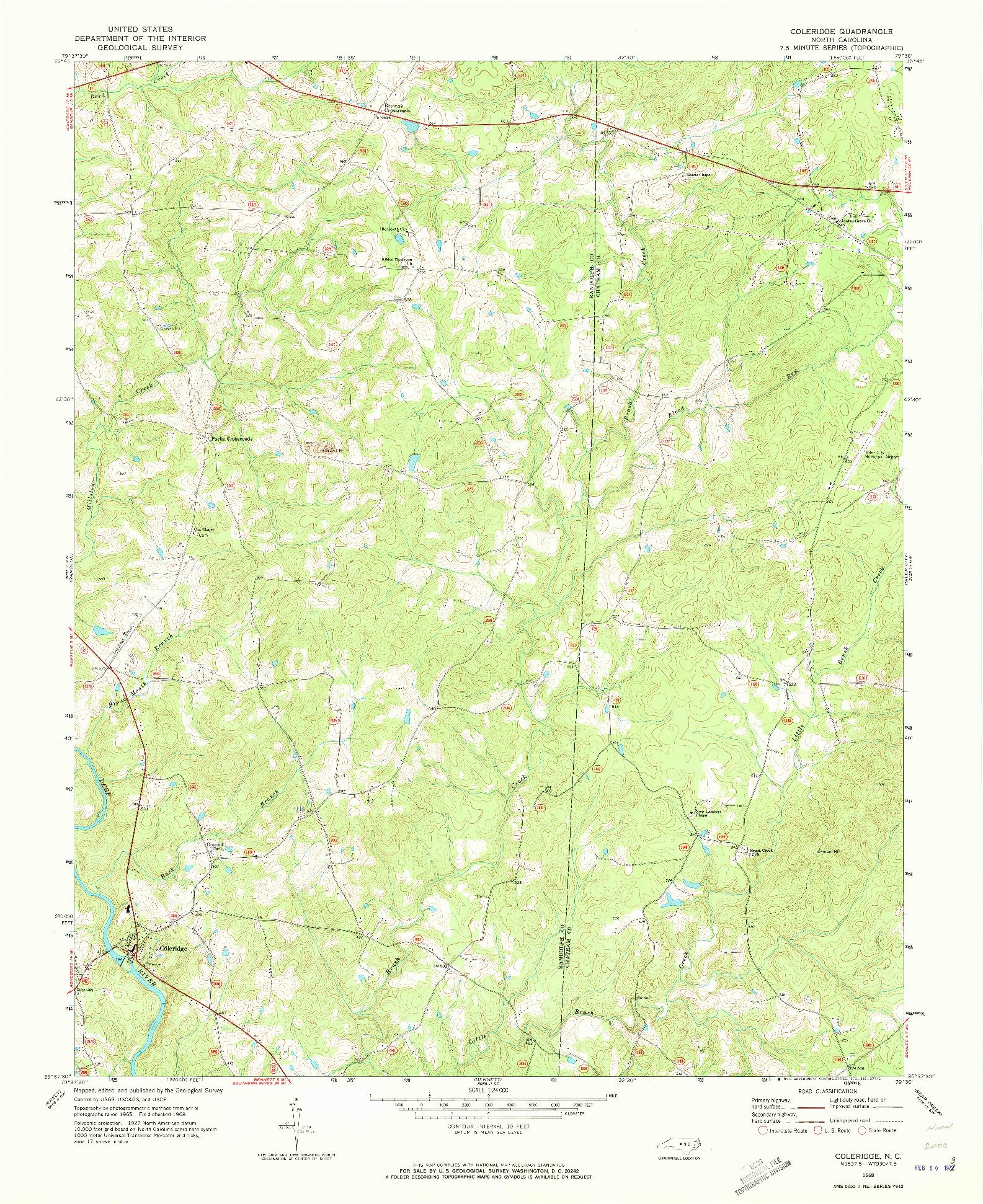 USGS 1:24000-SCALE QUADRANGLE FOR COLERIDGE, NC 1968