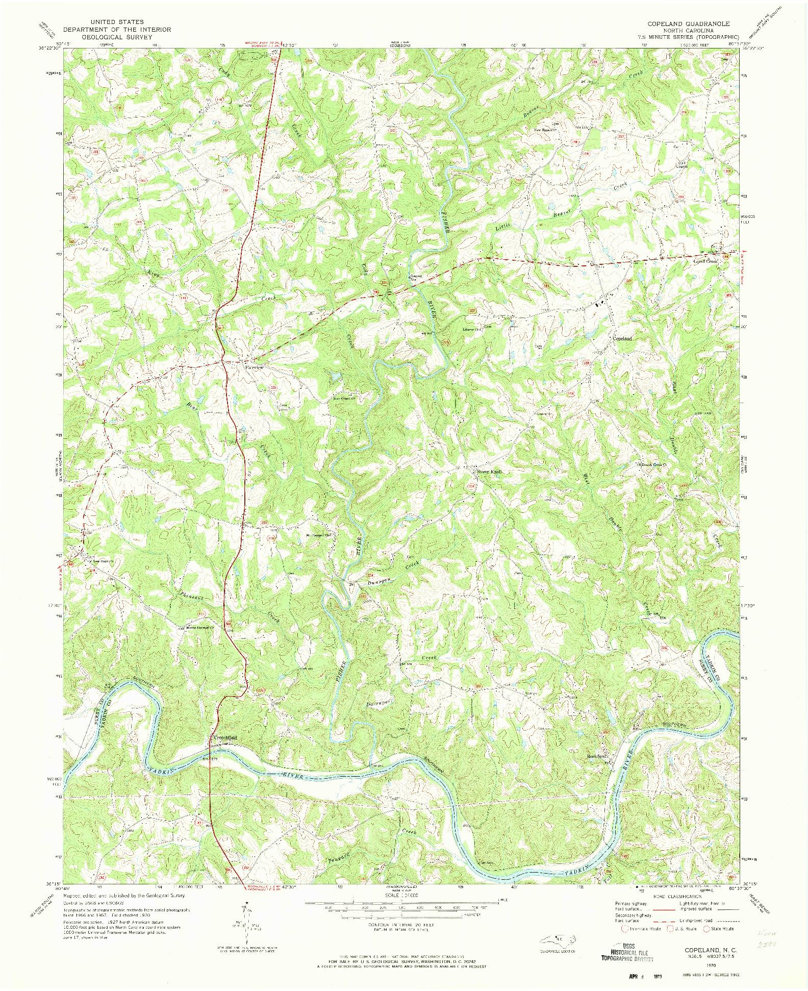 USGS 1:24000-SCALE QUADRANGLE FOR COPELAND, NC 1970