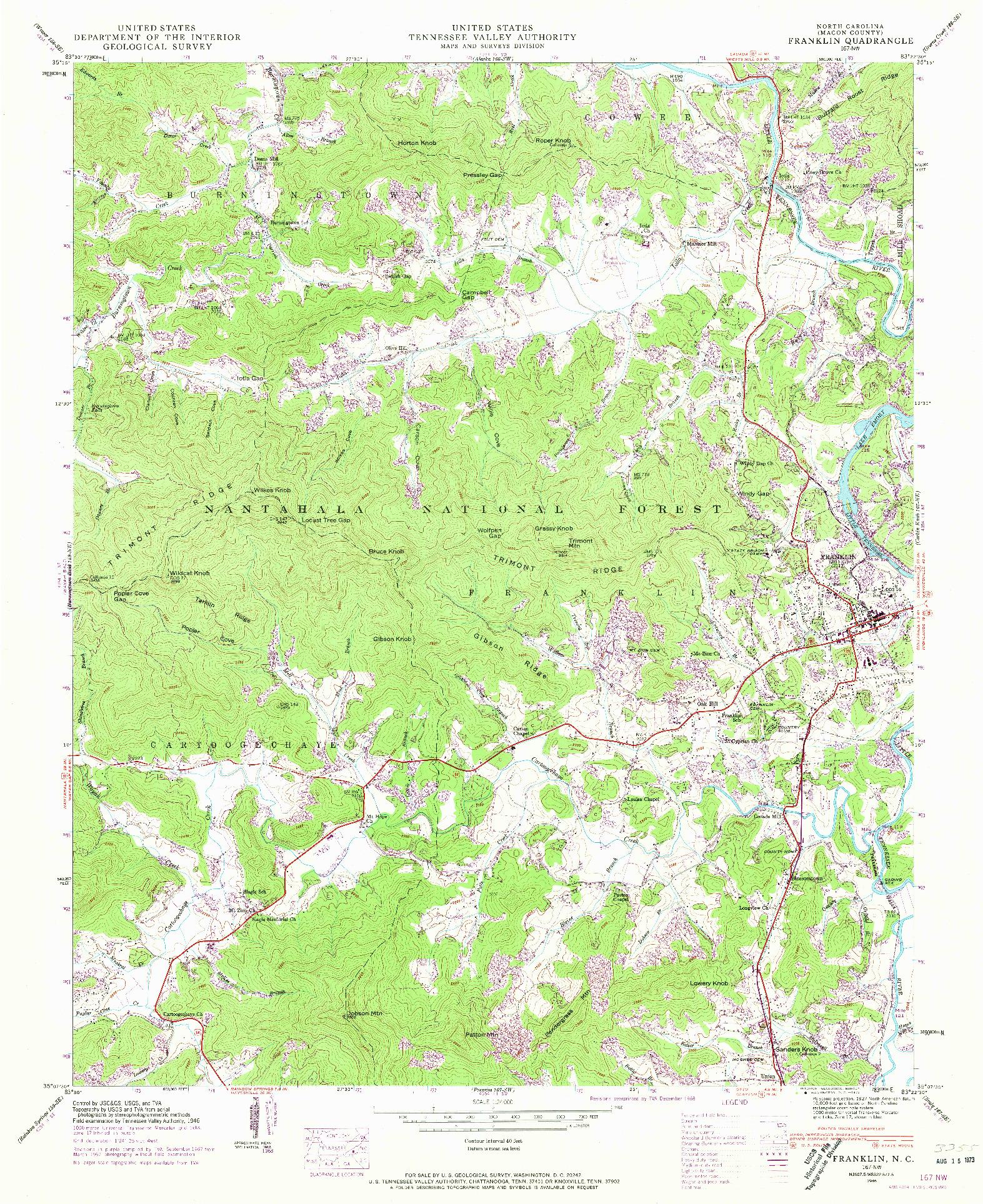 USGS 1:24000-SCALE QUADRANGLE FOR FRANKLIN, NC 1946