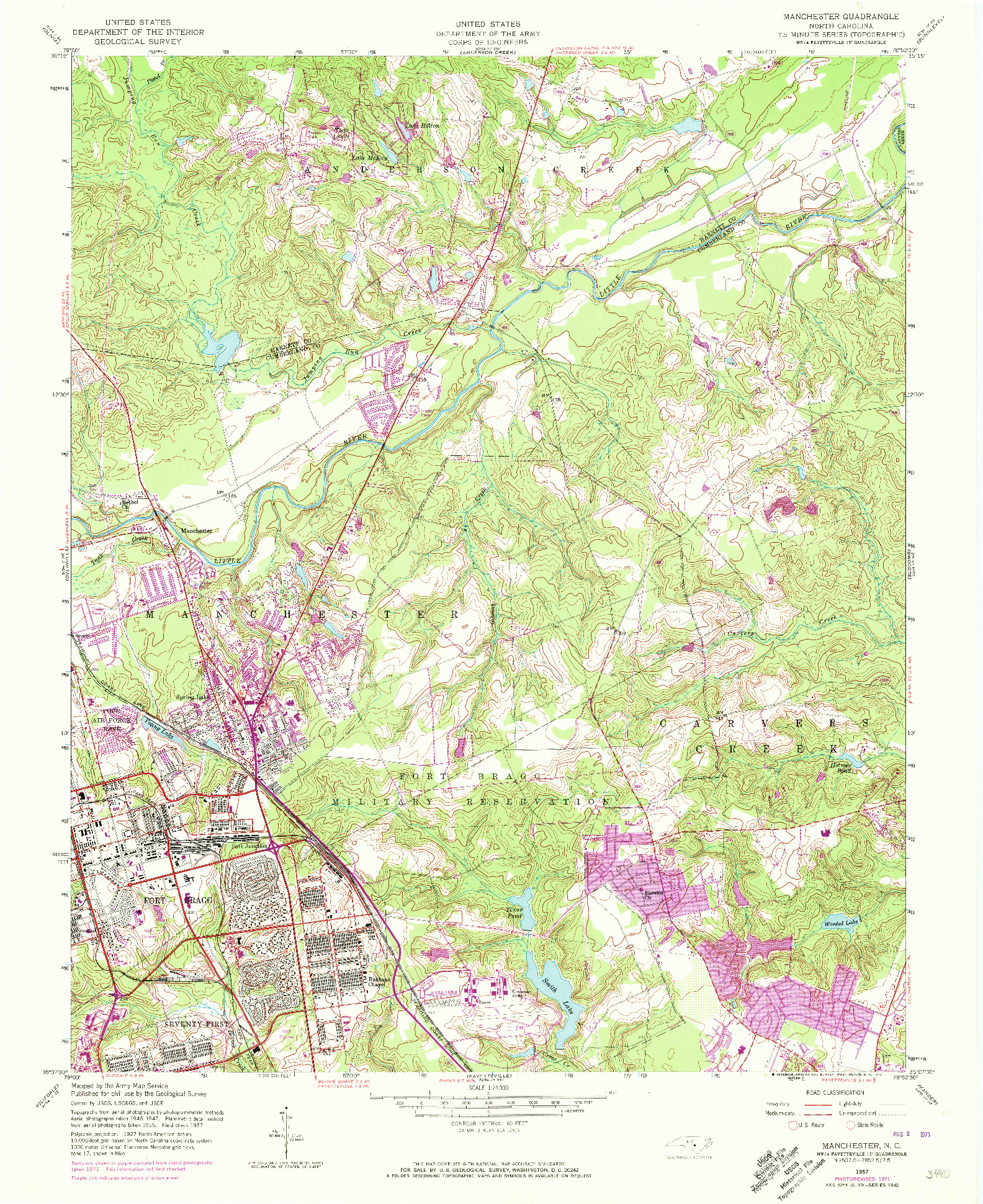 USGS 1:24000-SCALE QUADRANGLE FOR MANCHESTER, NC 1957