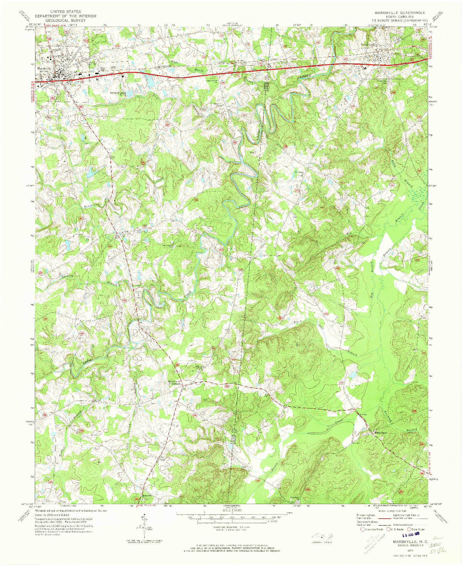 USGS 1:24000-SCALE QUADRANGLE FOR MARSHVILLE, NC 1970
