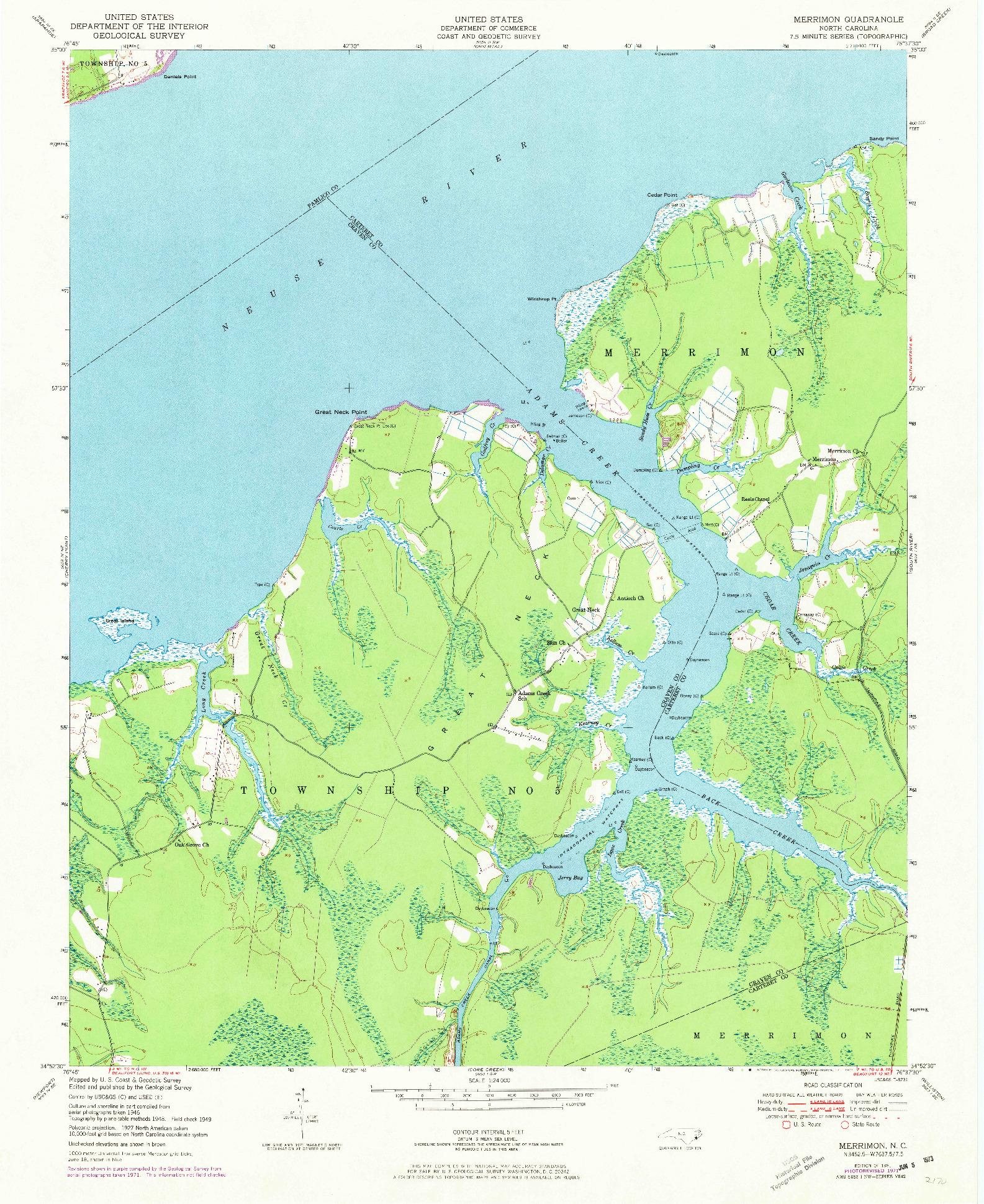 USGS 1:24000-SCALE QUADRANGLE FOR MERRIMON, NC 1951