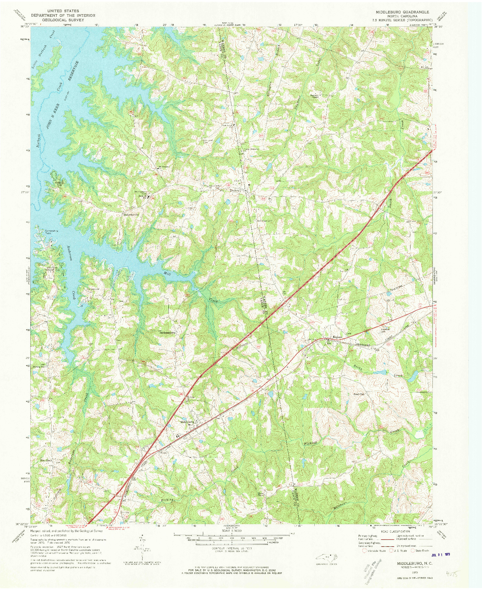 USGS 1:24000-SCALE QUADRANGLE FOR MIDDLEBURG, NC 1970