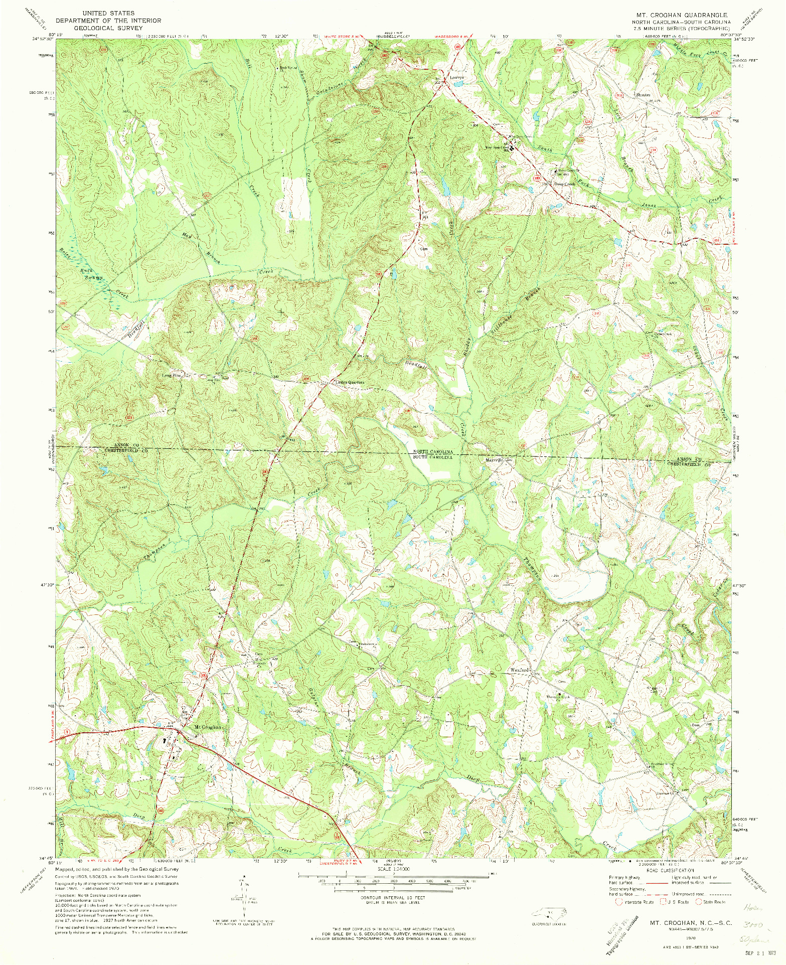 USGS 1:24000-SCALE QUADRANGLE FOR MT. CROGHAN, NC 1970