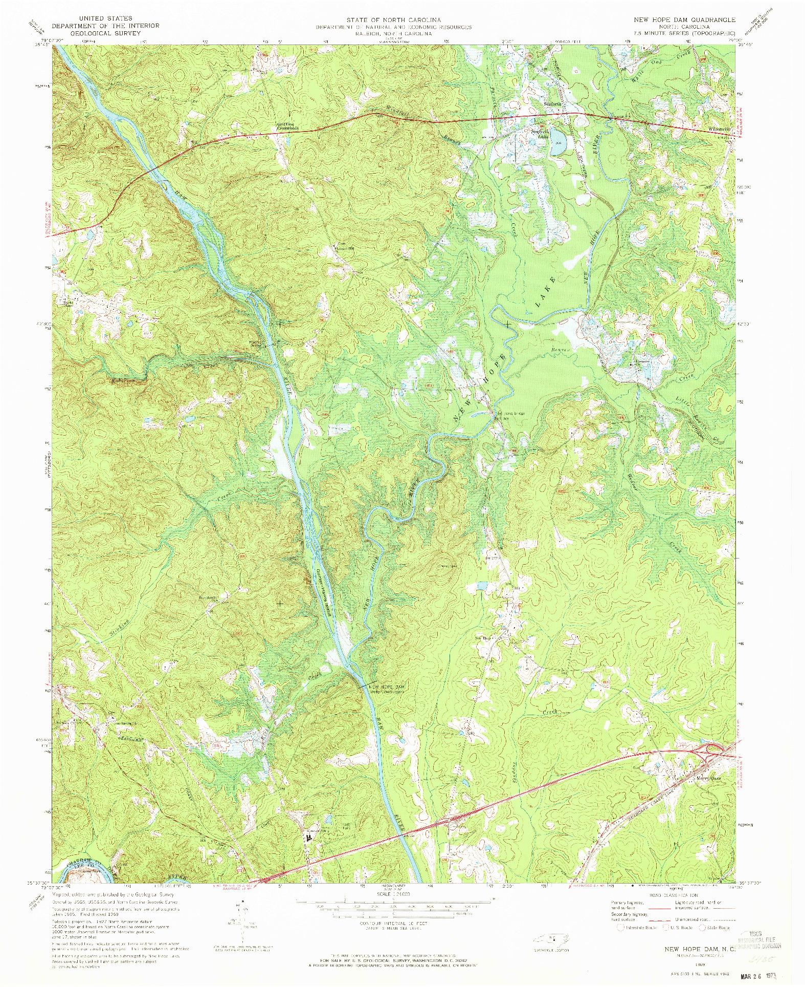 USGS 1:24000-SCALE QUADRANGLE FOR NEW HOPE DAM, NC 1969