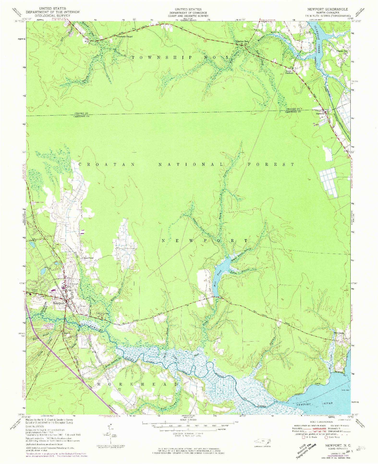 USGS 1:24000-SCALE QUADRANGLE FOR NEWPORT, NC 1951