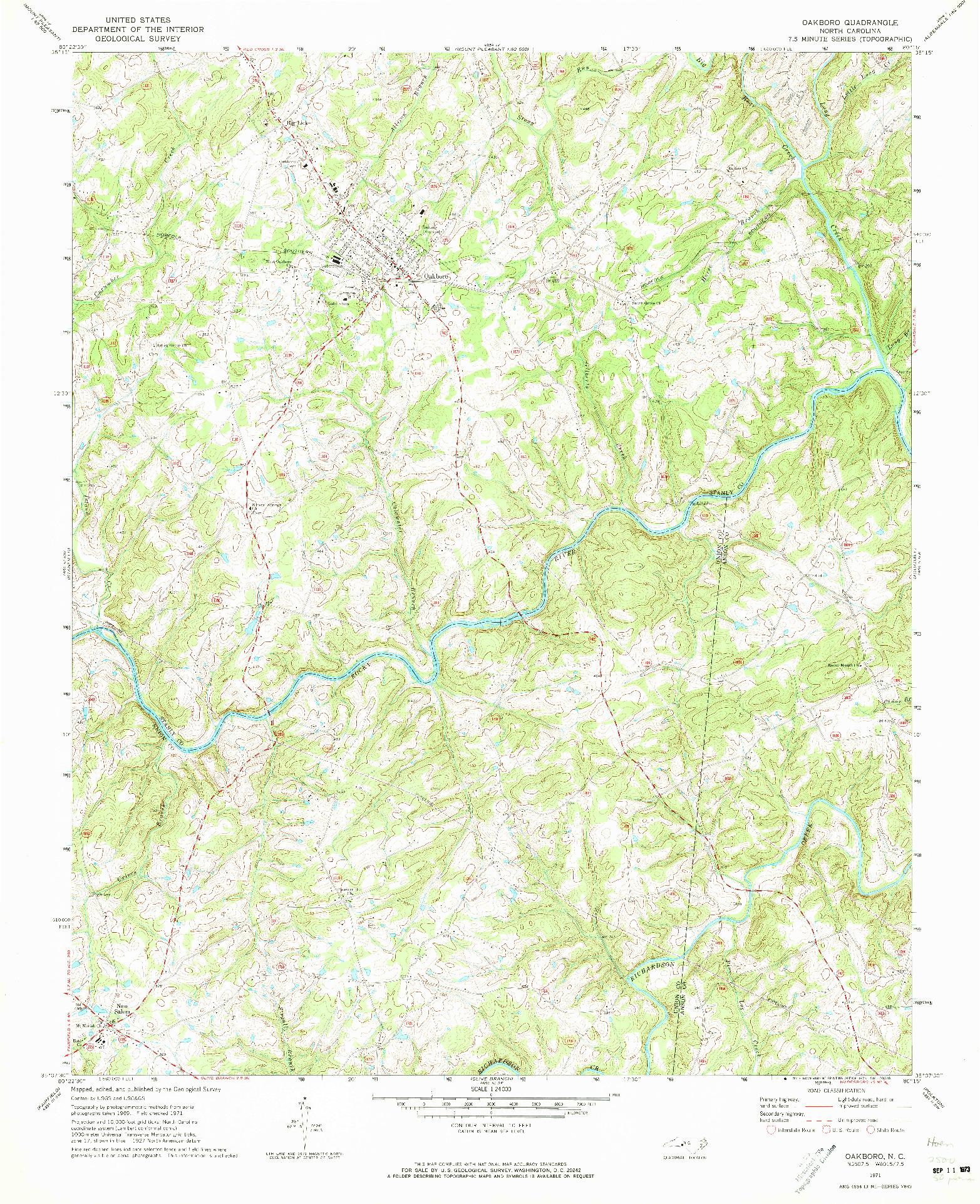 USGS 1:24000-SCALE QUADRANGLE FOR OAKBORO, NC 1971