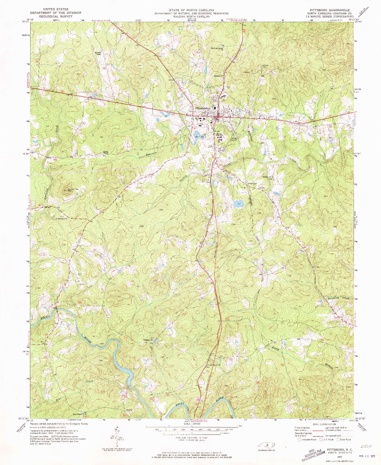 USGS 1:24000-SCALE QUADRANGLE FOR PITTSBORO, NC 1970