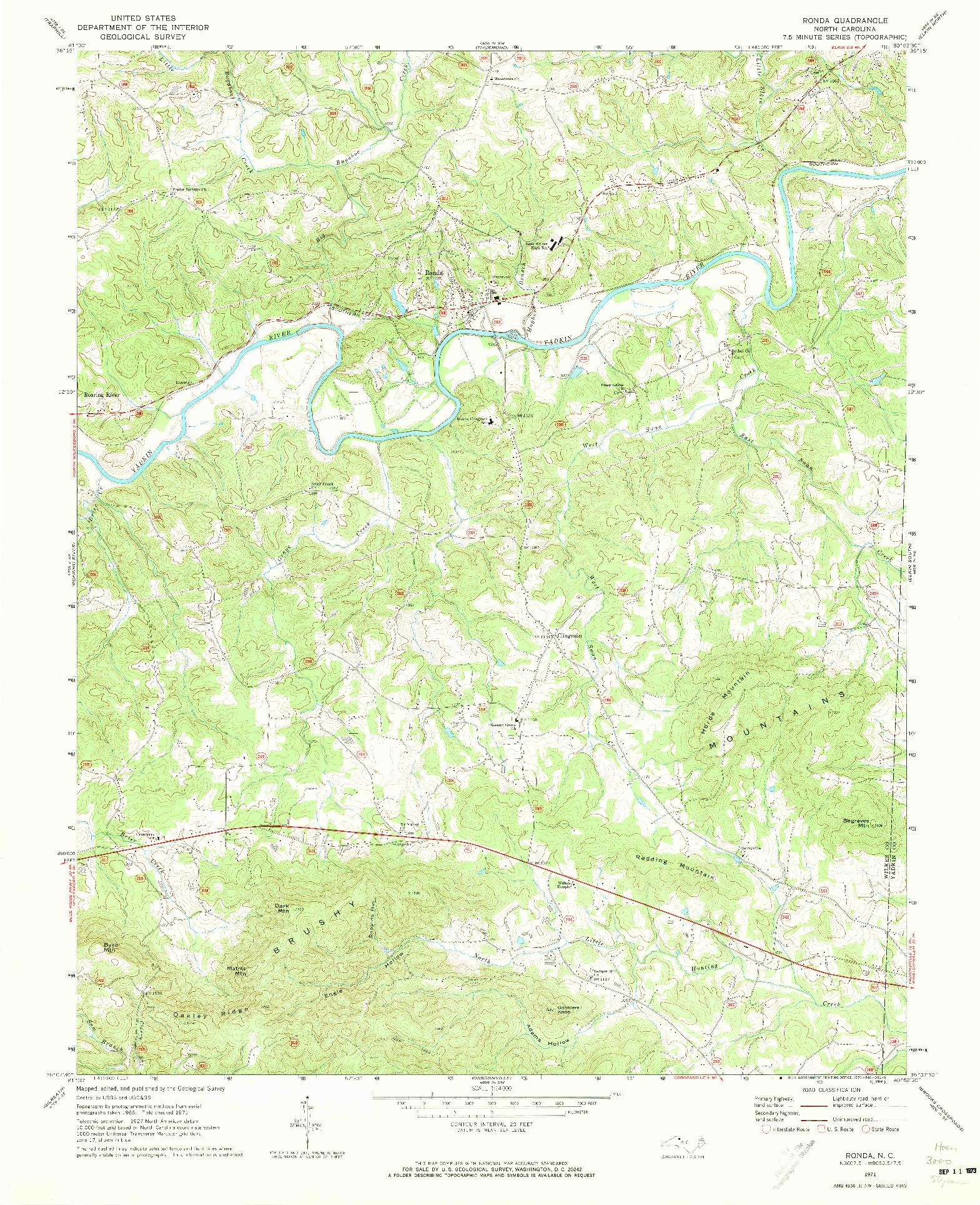 USGS 1:24000-SCALE QUADRANGLE FOR RONDA, NC 1971