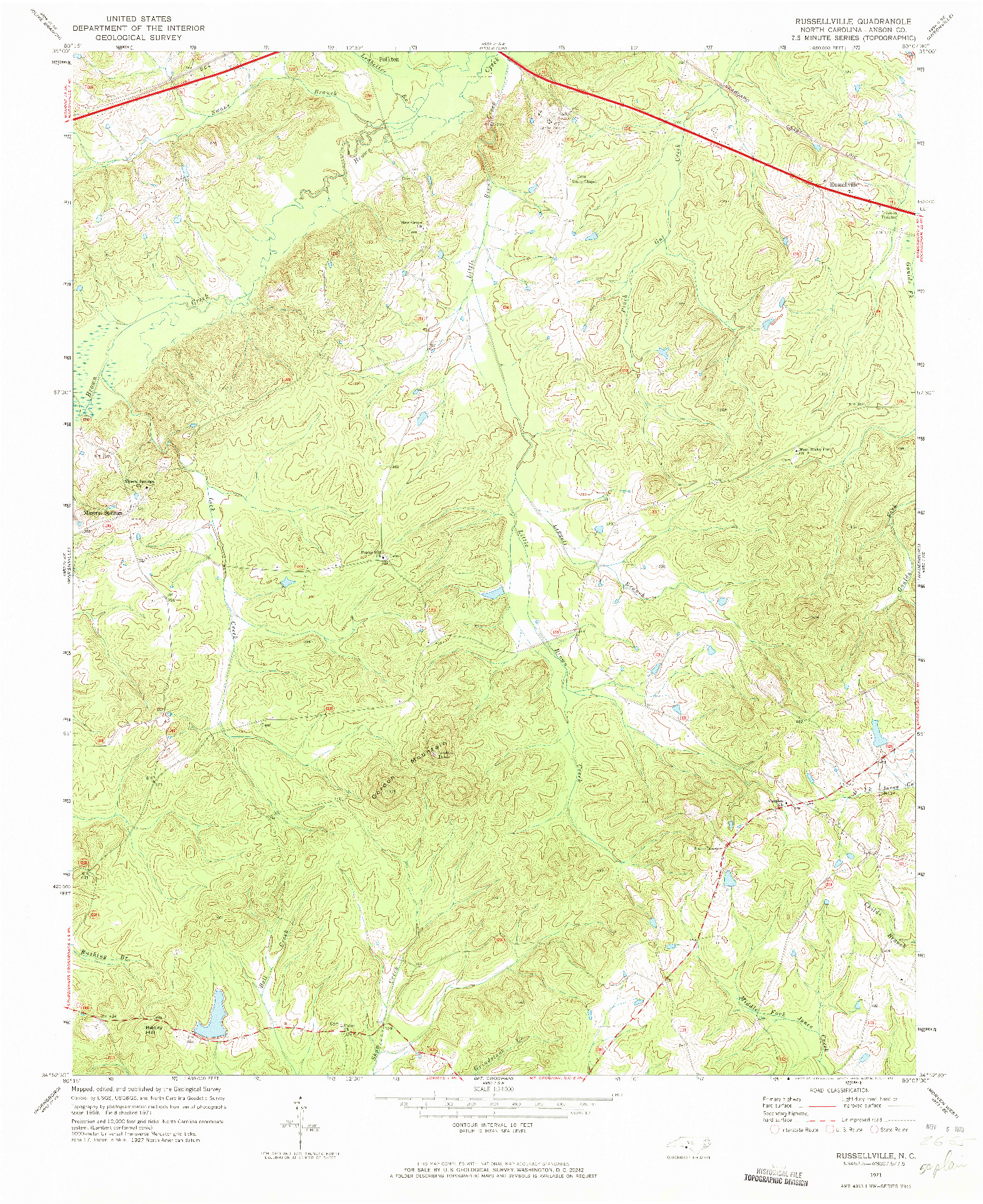 USGS 1:24000-SCALE QUADRANGLE FOR RUSSELLVILLE, NC 1971