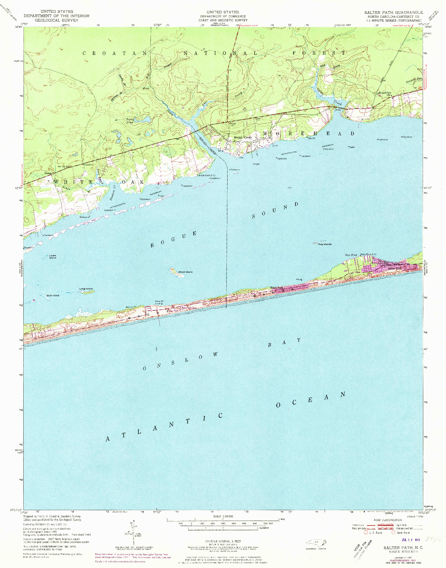 USGS 1:24000-SCALE QUADRANGLE FOR SALTER PATH, NC 1951