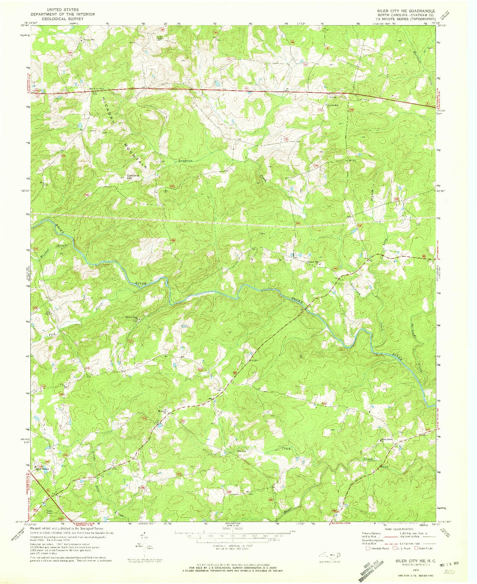 USGS 1:24000-SCALE QUADRANGLE FOR SILER CITY NE, NC 1970