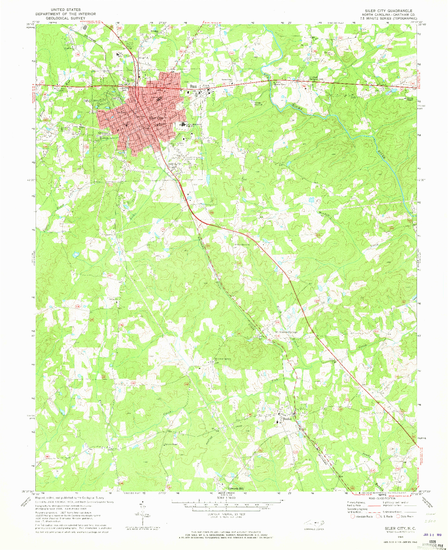 USGS 1:24000-SCALE QUADRANGLE FOR SILER CITY, NC 1969