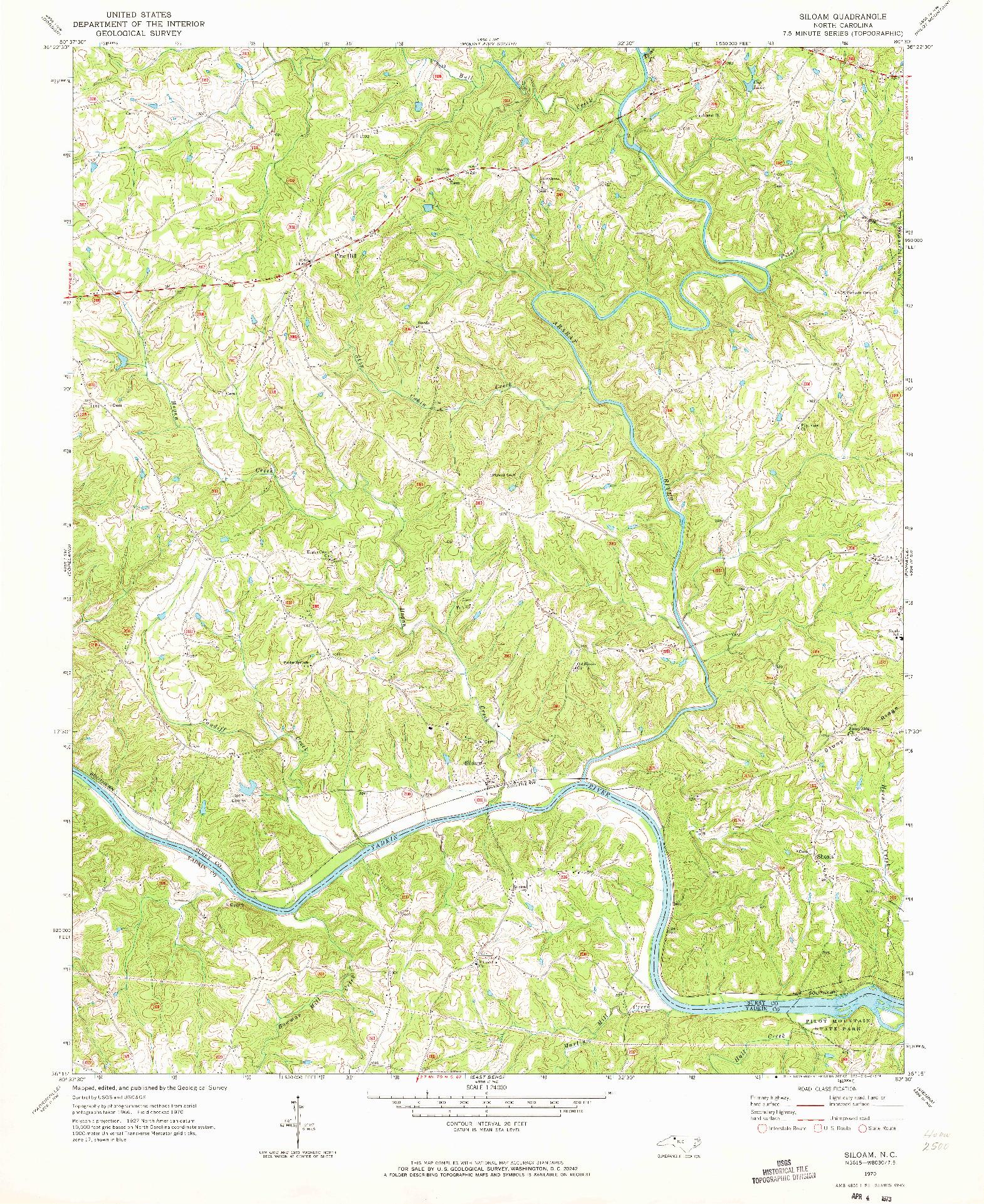 USGS 1:24000-SCALE QUADRANGLE FOR SILOAM, NC 1970