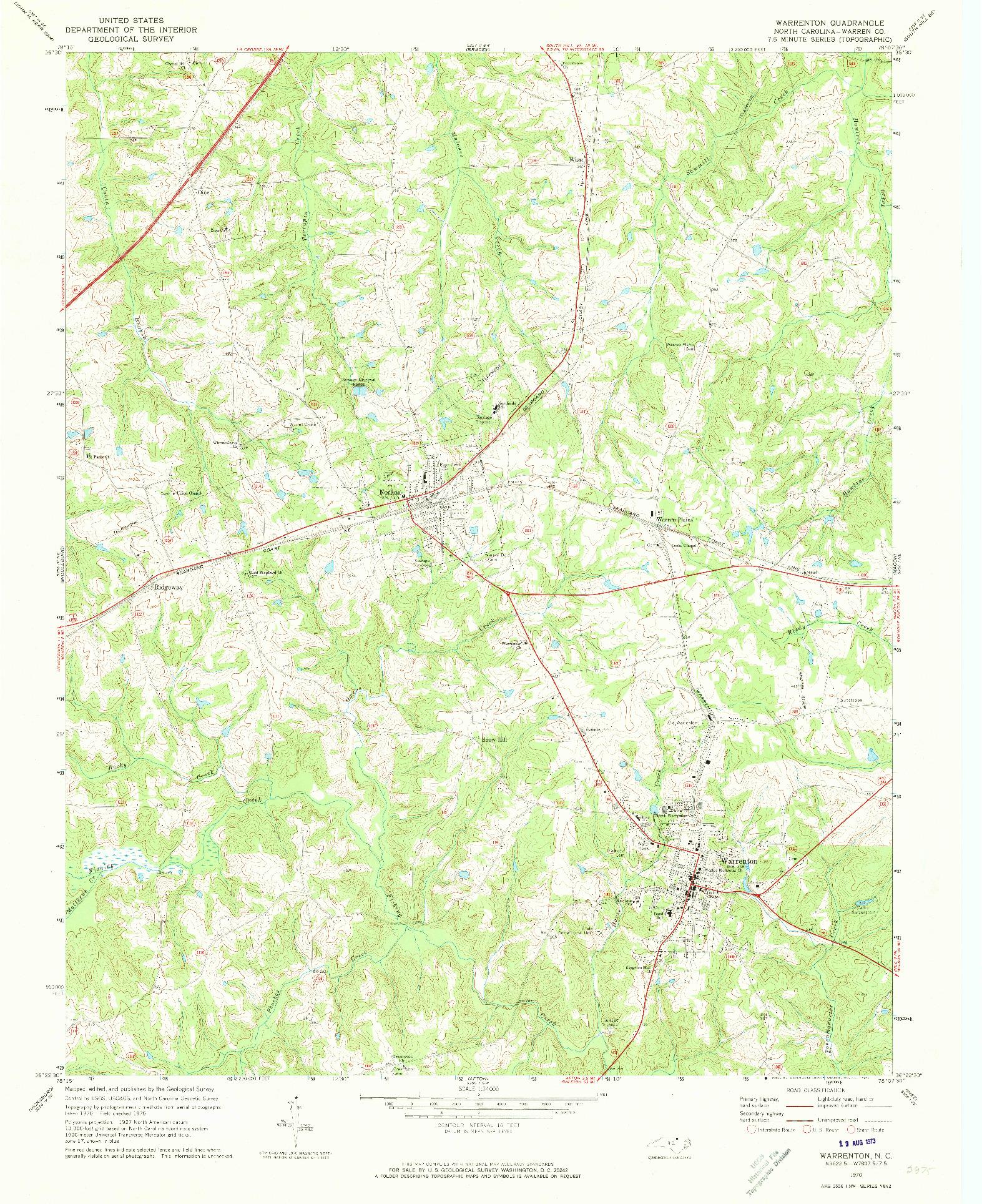 USGS 1:24000-SCALE QUADRANGLE FOR WARRENTON, NC 1970