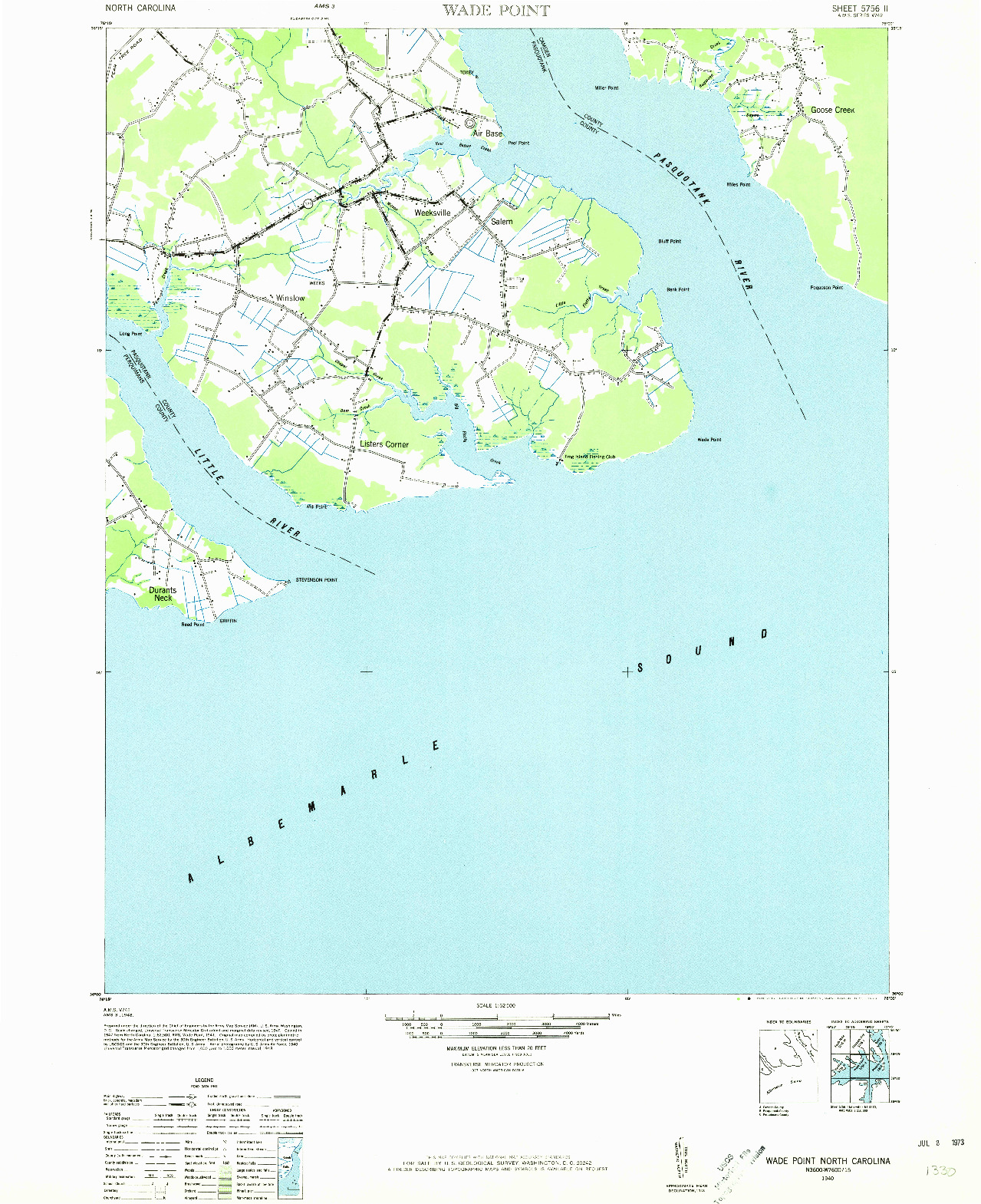 USGS 1:62500-SCALE QUADRANGLE FOR WADE POINT, NC 1940