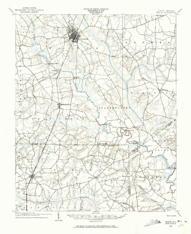 USGS 1:62500-SCALE QUADRANGLE FOR WILSON, NC 1904