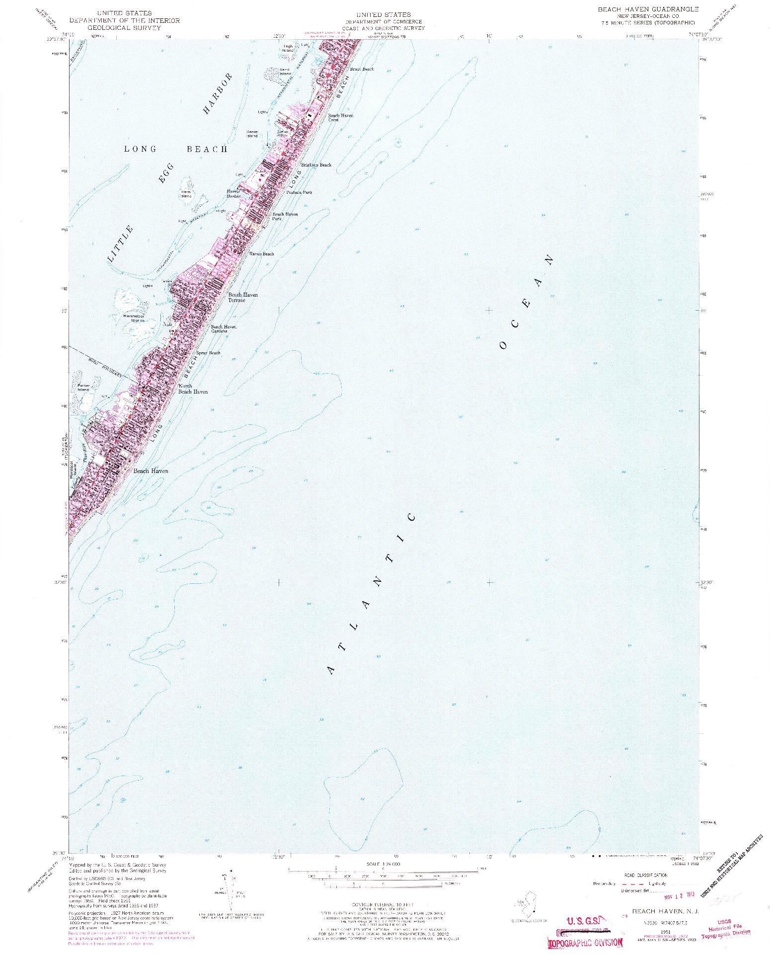 USGS 1:24000-SCALE QUADRANGLE FOR BEACH HAVEN, NJ 1951