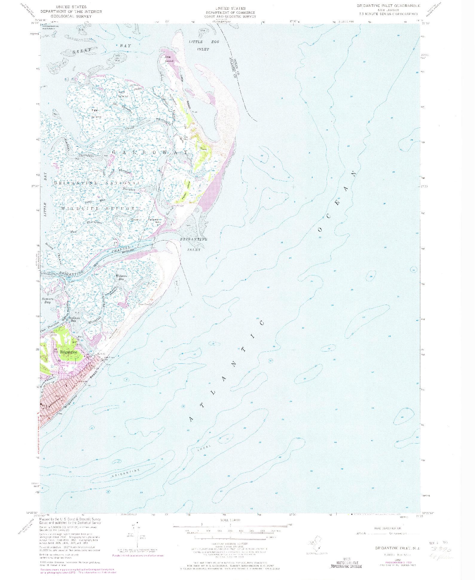 USGS 1:24000-SCALE QUADRANGLE FOR BRIGANTINE INLET, NJ 1952