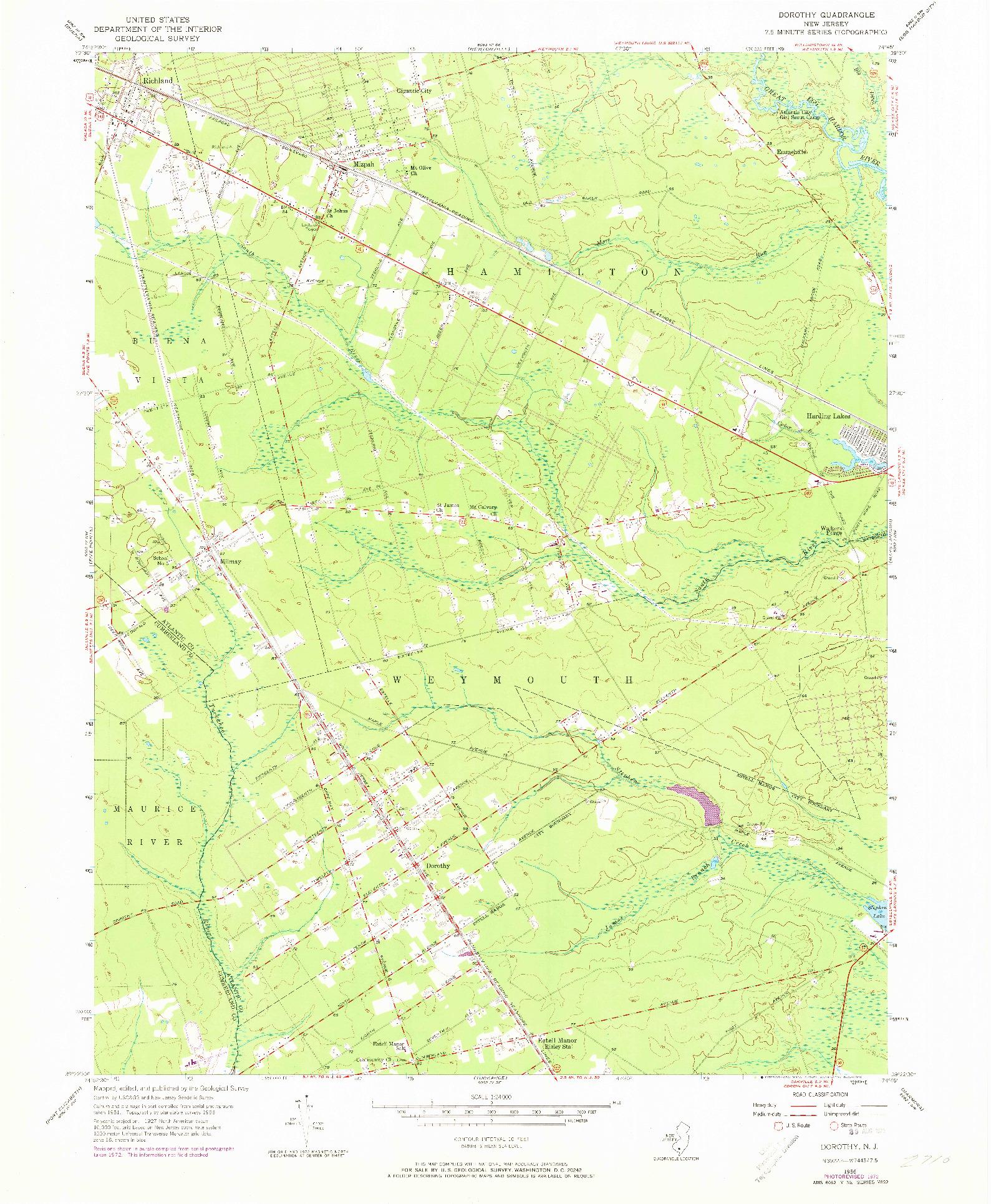 USGS 1:24000-SCALE QUADRANGLE FOR DOROTHY, NJ 1956