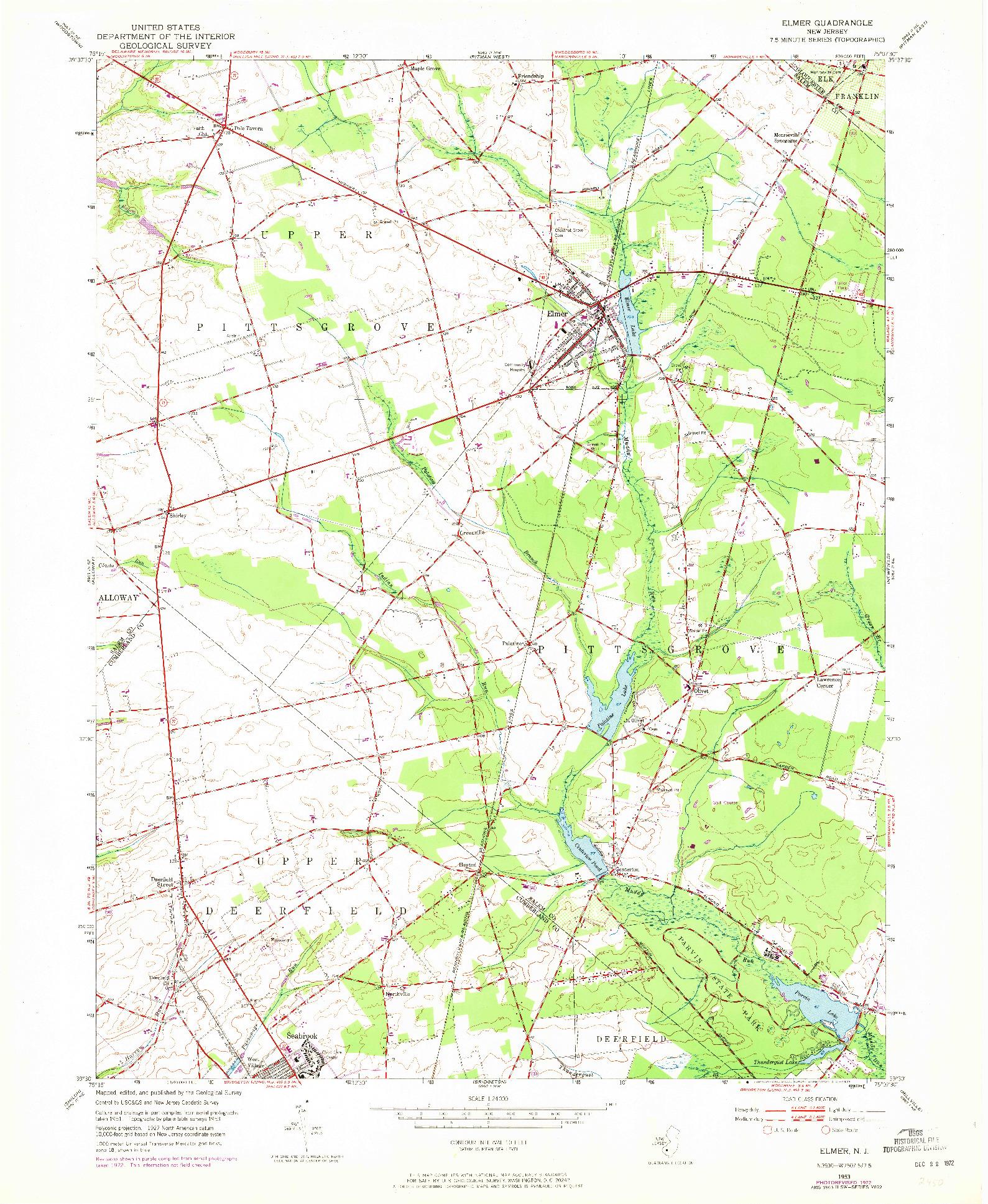 USGS 1:24000-SCALE QUADRANGLE FOR ELMER, NJ 1953