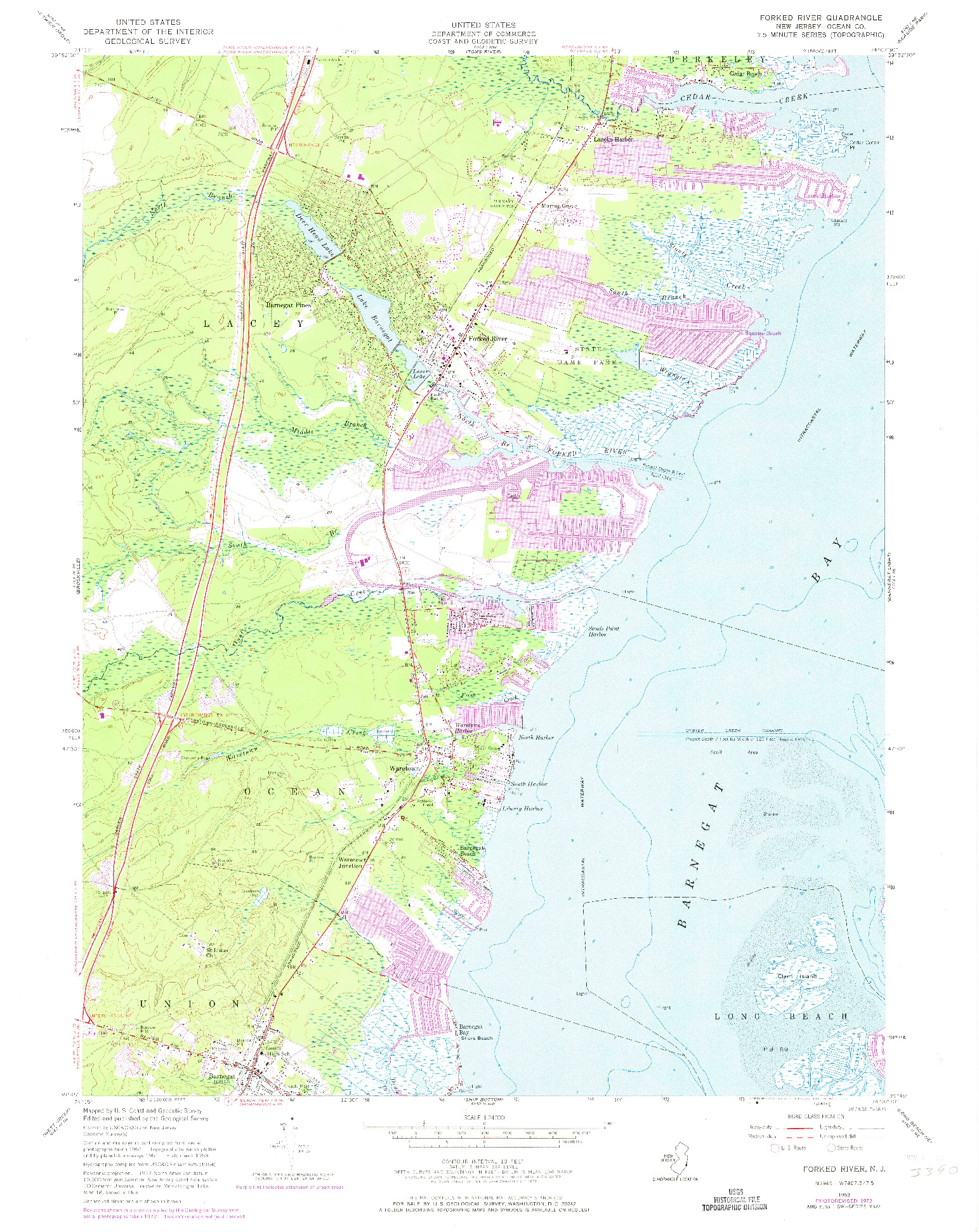 USGS 1:24000-SCALE QUADRANGLE FOR FORKED RIVER, NJ 1953