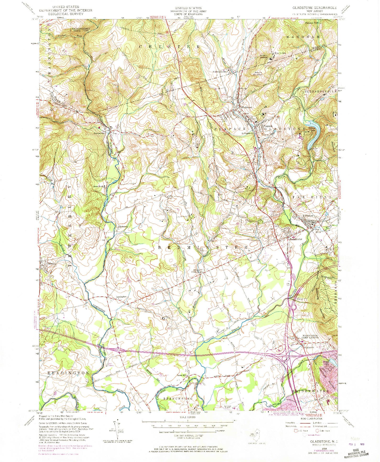 USGS 1:24000-SCALE QUADRANGLE FOR GLADSTONE, NJ 1954